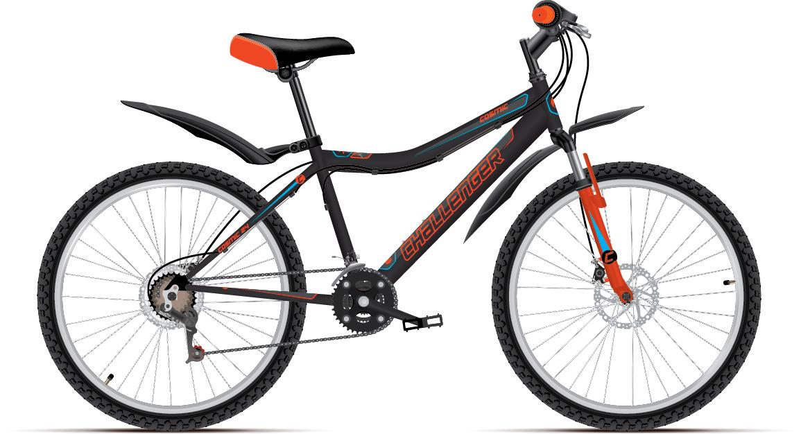 Велосипед Challenger Cosmic 24 D 2018 чёрный-оранжевый-голубой one size