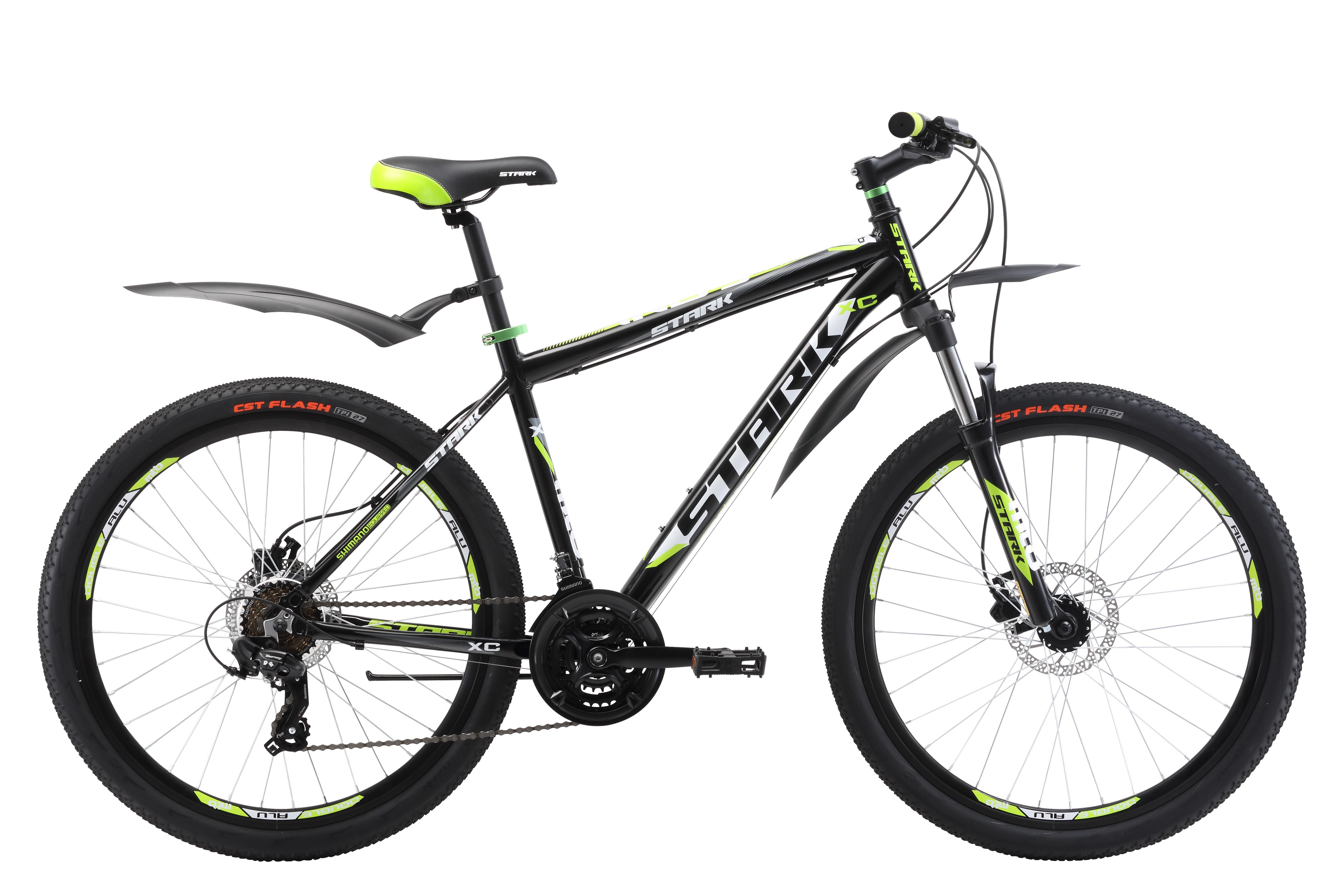 Велосипед Stark Indy 26.2 HD (2017) черно-зеленый 20КОЛЕСА 26 (СТАНДАРТ)<br>Надёжный и недорогой велосипед, который отлично подойдёт для езды по дорогам и пересеченной местности. Лёгкая алюминиевая рама имеет крепкий рулевой. Трансмиссия велосипеда оборудована 21 передачей, что позволяет более точно подбирать нагрузку. Навесное оборудование, а именно переключатели скоростей #40;передний и задний#41;, кассета и монетки - известного бренда SHIMANO. Особенностью этой модели являются дисковые гидравлические тормоза и обода Alloy double wall с двойной стенкой, они прочнее и жёстче. В модели 2017 года установлена новая вилка, которая имеет блокировку и preload, блокировка будет удобна при подъеме в гору и разгоне, а preload поможет настроить жёсткость. Помимо этого производитель добавил литой вынос без сварки, а также кольцо под вынос, благодаря этому конструкция стала прочнее, а руль может устанавливаться выше.<br><br>бренд: STARK<br>год: 2017<br>рама: Алюминий (Alloy)<br>вилка: Амортизационная (пружина)<br>блокировка амортизатора: Да<br>диаметр колес: 26<br>тормоза: Дисковые гидравлические<br>уровень оборудования: Начальный<br>количество скоростей: 21<br>Цвет: черно-зеленый<br>Размер: 20