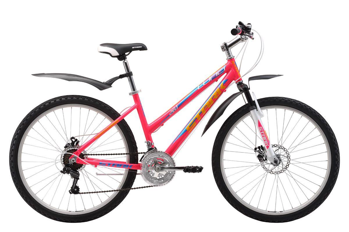 Велосипед Stark Luna 26.1 D (2017) черно-фиолетовый 18СПОРТИВНЫЕ<br>Женский велосипед Stark Luna - создан для приятных велопрогулок на природе и в городе. Лёгкая алюминиевая рама обеспечивает удобную посадку, так как сконструирована специально для женщин. Удобное сиденье и мягкая амортизационная вилка подарят комфорт во время поездки. Велосипед оборудован надёжными механическими дисковыми тормозами. Колеса классического размера - 26 дюймов, с двойными алюминиевыми ободами. В модели 2017 года увеличено количество скоростей с 18 до 21, что позволяет идеально подобрать скоростной режим. Так же производитель установил триггерные монетки SHIMANO, которые работоспособны в любых погодных условиях.<br><br>бренд: STARK<br>год: 2017<br>рама: Алюминий (Alloy)<br>вилка: Амортизационная (пружина)<br>блокировка амортизатора: Нет<br>диаметр колес: 26<br>тормоза: Дисковые механические<br>уровень оборудования: Начальный<br>количество скоростей: 21<br>Цвет: черно-фиолетовый<br>Размер: 18