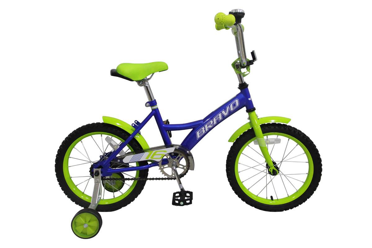 Велосипед Bravo 16 Boy (2017) сине-зеленый one sizeОТ 3 ДО 6 ЛЕТ (16-18 ДЮЙМОВ)<br><br><br>бренд: BRAVO<br>год: 2017<br>рама: Сталь (Hi-Ten)<br>вилка: Жесткая (сталь)<br>блокировка амортизатора: Нет<br>диаметр колес: 16<br>тормоза: Ножной ( Coaster brake)<br>уровень оборудования: Начальный<br>количество скоростей: 1<br>Цвет: сине-зеленый<br>Размер: one size