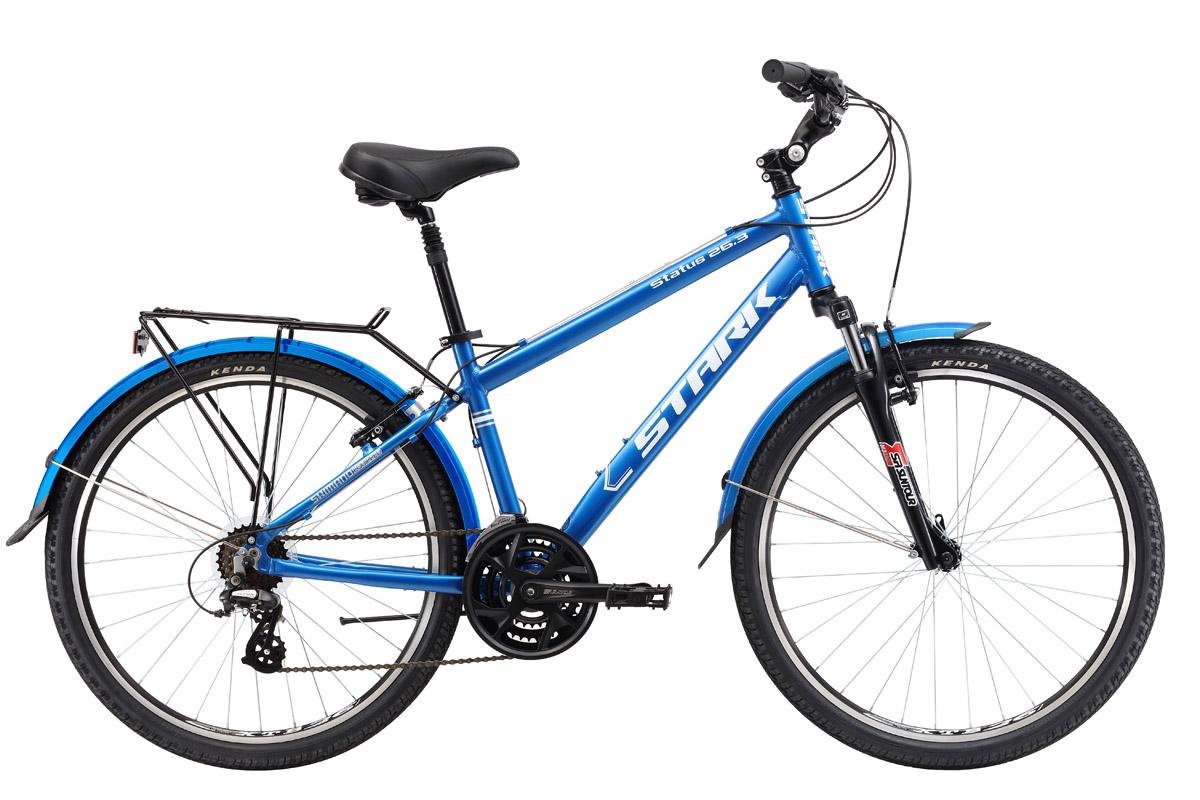 Велосипед Stark Status 26.3 V (2017) сине-серебристый 16КОМФОРТНАЯ ПОСАДКА<br>Дорожный велосипед Stark Status 26.3 V имеет уникальную особенность, он оборудован системой шатунов Suntour со звёздами на 48-38-28 зубьев, что позволяет велосипедисту развивать большую скорость при прочих равных условиях. Мягкую и плавную работу подвески обеспечивает передняя амортизационная вилка и задний подседельный штырь. Велосипед оборудован надёжными ободными тормозами Promax,трансмиссией на 21 скорость и регулируемым выносом руля, который позволяет настраивать высоту и угол наклона, чтобы подобрать более комфортную посадку. Для удобства велосипедиста модель оснащена багажником и крыльями.<br><br>бренд: STARK<br>год: 2017<br>рама: Алюминий (Alloy)<br>вилка: Амортизационная (пружина)<br>блокировка амортизатора: Нет<br>диаметр колес: 26<br>тормоза: Ободные (V-brake)<br>уровень оборудования: Начальный<br>количество скоростей: 21<br>Цвет: сине-серебристый<br>Размер: 16