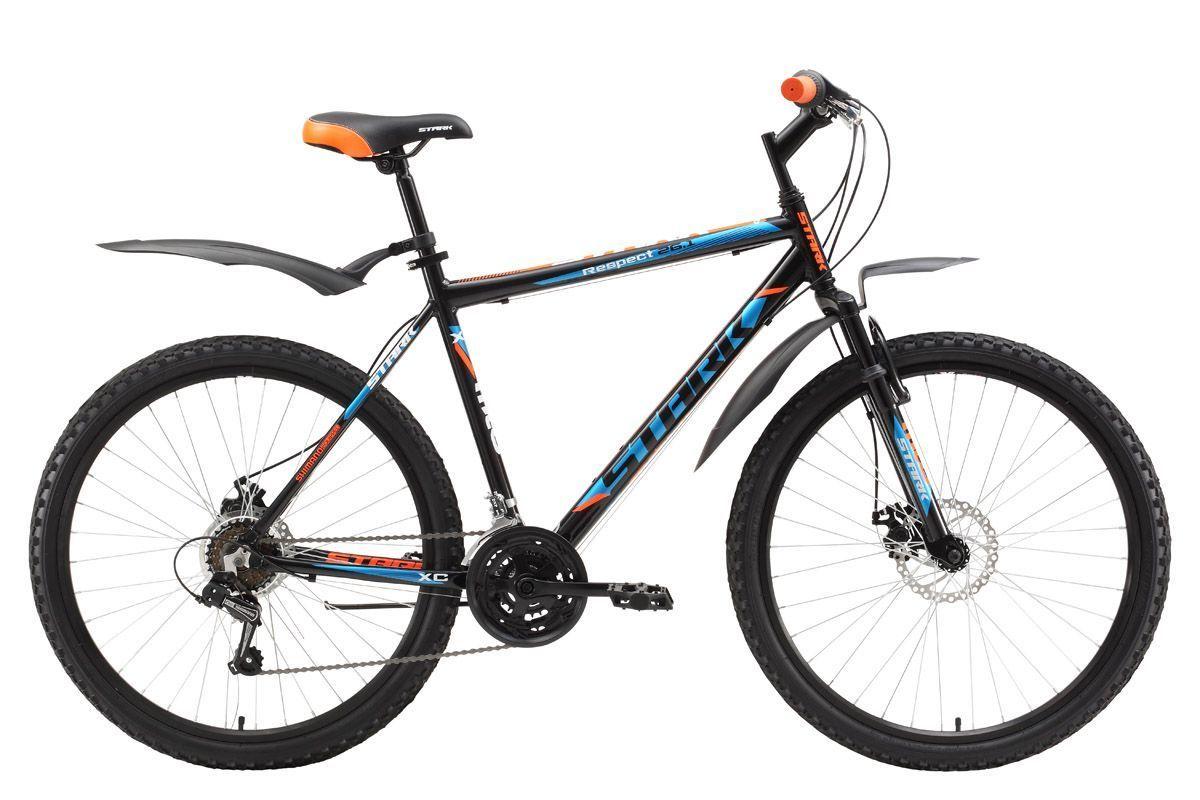 Велосипед Stark Respect 26.1 D (2017) черно-оранжевый 18КОЛЕСА 26 (СТАНДАРТ)<br>Недорогой, горный велосипед, который прекрасно подходит для прогулок в парке и за городом. Велосипед оборудован трансмиссией имеющей 18 передач, что позволяет оптимально подбирать нагрузку, в зависимости от ваших задач. Данная модель оснащена лёгкой алюминиевой рамой, передней амортизационной вилкой, полуинтегрированной рулевой колонкой, а так же комфортными переключателями передач известного бренда SHIMANO. Мягкое седло, широкие педали, удобная подножка и велосипедные крылья сделают вашу прогулку еще приятнее. Велосипед оборудован надёжными дисковыми тормозами, которые имеют стабильные характеристики в любую погоду.<br><br>бренд: STARK<br>год: 2017<br>рама: Алюминий (Alloy)<br>вилка: Амортизационная (пружина)<br>блокировка амортизатора: Нет<br>диаметр колес: 26<br>тормоза: Дисковые механические<br>уровень оборудования: Начальный<br>количество скоростей: 18<br>Цвет: черно-оранжевый<br>Размер: 18