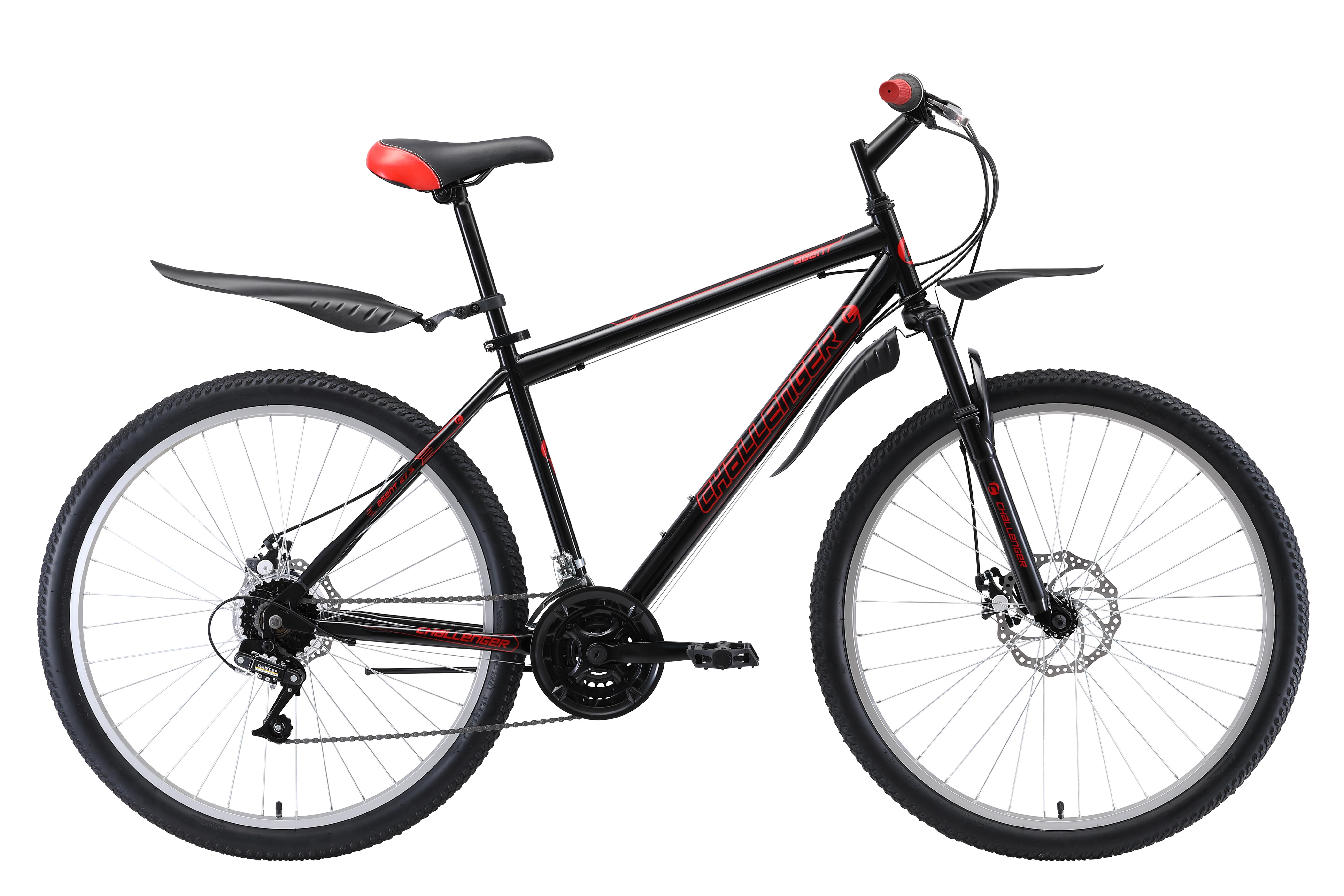 Велосипед Challenger Agent 27.5 D 2019 чёрный-вишнёвый 16 д