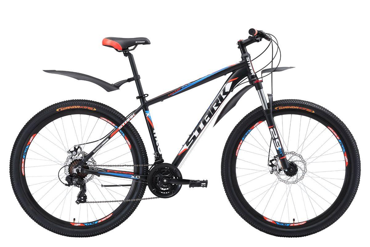 Велосипед Stark Hunter 29.2 D (2018) чёрный/тёмно-серый/серый 20КОЛЕСА 29 (НАЙНЕРЫ)<br>Горный велосипед Stark Hunter 29.2 D с диаметром колёс 29 дюймов предназначен для прогулочного катания на природе. Велосипед собран на алюминиевой раме и оборудован механическими дисковыми тормозами, с диаметром тормозных дисков 180мм. 21 передача позволяет велосипедисту подобрать оптимальную нагрузку в любых условиях. Передняя амортизационная вилка имеет механическую блокировку хода и preload - предварительную настройку жёсткости. Благодаря большому диаметру колёс, у велосипеда хороший накат. Усиленные обода с двойной стенкой, делают колесо устойчивым к деформациям. Переключение передач выполняется с помощью оборудования Shimano, туристического уровня - Tourney. Для управления передачами, на руле установлены курковые переключатели. Велосипед оборудован удобным седлом. В базовой комплектации, установлены крылья и подножка.<br><br>бренд: STARK<br>год: 2018<br>рама: Алюминий (Alloy)<br>вилка: Амортизационная (пружина)<br>блокировка амортизатора: Да<br>диаметр колес: 29<br>тормоза: Дисковые механические<br>уровень оборудования: Начальный<br>количество скоростей: 21<br>Цвет: чёрный/тёмно-серый/серый<br>Размер: 20