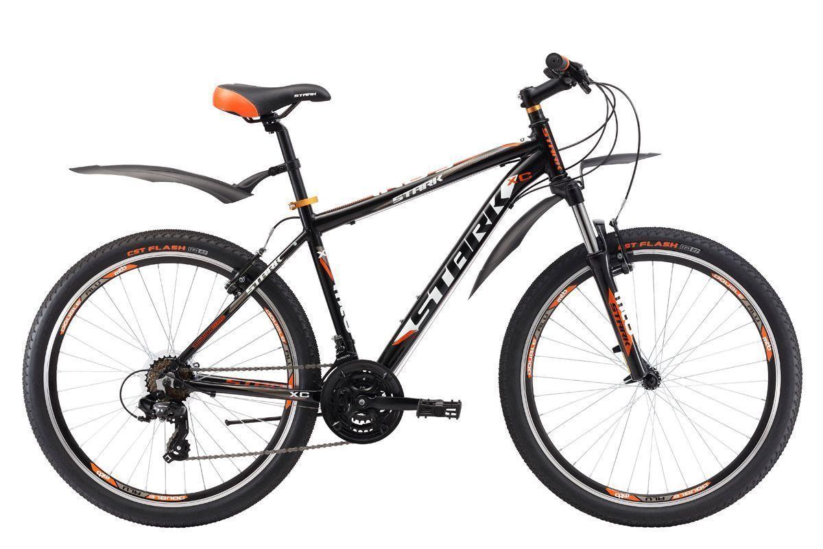 Велосипед Stark Indy 26.2 V (2017) черно-оранжевый 20КОЛЕСА 26 (СТАНДАРТ)<br>Хотите купить надёжный недорогой горный велосипед? Тогда обратите внимание на Stark Indy 26.2 V. Этот велосипед оснащён крепкой и лёгкой алюминиевой рамой, ободными тормозами V-brake и навесным оборудованием бренда SHIMANO. Велосипед имеет колеса классического размера 26 дюймов. Обода с двойной стенкой Alloy double wall, установленные на данной модели, имеют больший запас прочности. В модели 2017 года установлена новая вилка имеющая блокировку и preload, блокировка будет удобна при подъеме в гору и разгоне, а preload поможет настроить жёсткость. Помимо этого производитель добавил литой вынос без сварки, а таже кольцо под вынос, благодаря этому конструкция стала прочнее, а руль может устанавливаться выше.<br><br>бренд: STARK<br>год: 2017<br>рама: Алюминий (Alloy)<br>вилка: Амортизационная (пружина)<br>блокировка амортизатора: Да<br>диаметр колес: 26<br>тормоза: Ободные (V-brake)<br>уровень оборудования: Начальный<br>количество скоростей: 21<br>Цвет: черно-оранжевый<br>Размер: 20