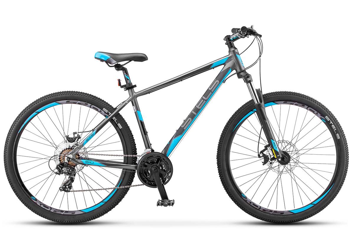 STELS Велосипед Stels Navigator 610 MD 27.5 (2017) антрацитовый-голубой 19 велосипед stels navigator 310 2016