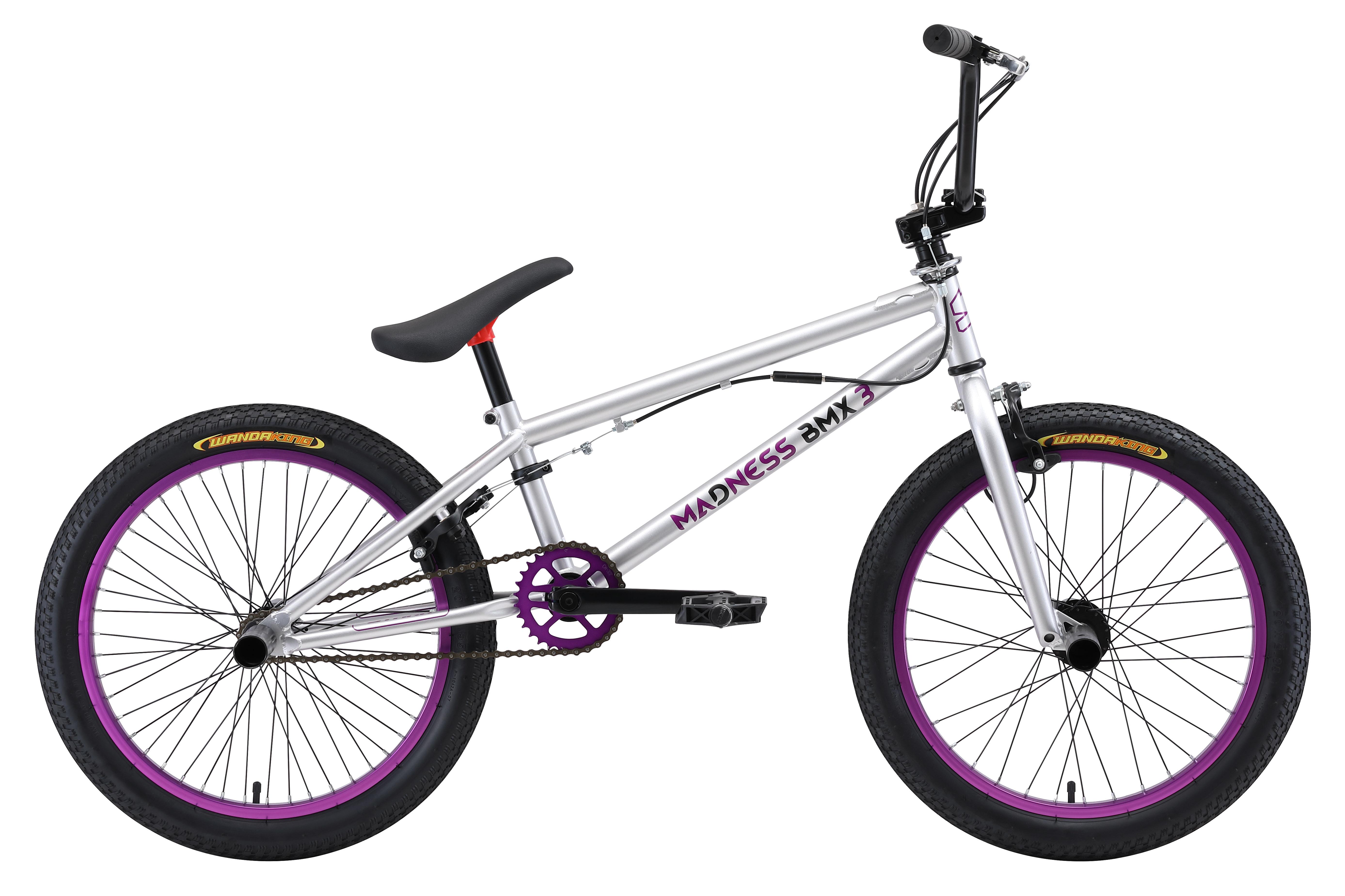 Велосипед Stark Madness BMX 3 (2018) серебристо-фиолетово-черныйBMX<br><br><br>бренд: STARK<br>год: 2018<br>рама: Сталь (Hi-Ten)<br>вилка: Жесткая (сталь)<br>блокировка амортизатора: Нет<br>диаметр колес: 20<br>тормоза: Клещевые (U-brake)<br>уровень оборудования: Начальный<br>количество скоростей: 1<br>Цвет: серебристо-фиолетово-черный<br>Размер: None