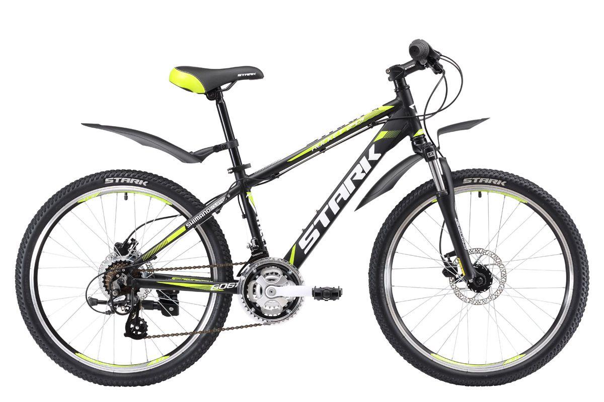 Велосипед Stark Rocket 24.3 HD (2017) черно-зеленый one sizeОТ 9 ДО 13 ЛЕТ (24-26 ДЮЙМОВ)<br>Stark Rocket 24.3 HD подростковый, горный велосипед, который уверенно ведёт себя, как на асфальтированных дорогах, так и на крутых спусках. Данный велосипед рассчитан на подростков возрастом от 8 до 12 лет, имеющих рост от 127 до 155см. Главная особенность велосипеда Rocket 24.3 HD, гидравлический дисковый тормоз, который надёжен и эффективен в любых условиях. Велосипед оборудован лёгкой и прочной алюминиевой рамой и передней амортизационной вилкой Suntour. Трансмиссия велосипеда имеет 21 скорость, что позволяет ребенку, научится пользоваться переключателями скоростей и правильно подбирать передачи.<br><br>бренд: None<br>год: 2017<br>рама: Алюминий (Alloy)<br>вилка: Амортизационная (пружина)<br>блокировка амортизатора: Нет<br>диаметр колес: 24<br>тормоза: Дисковые гидравлические<br>уровень оборудования: Начальный<br>количество скоростей: 21<br>Цвет: черно-зеленый<br>Размер: one size
