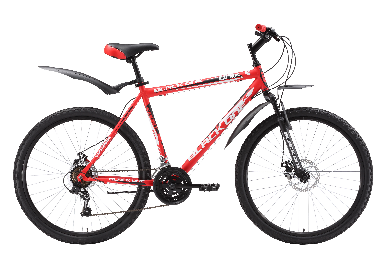 Велосипед Black One Onix Disc (2016) красно-черный 20КОЛЕСА 26 (СТАНДАРТ)<br>Прогулочный горный велосипед на стальной раме Black One Onix Disc оборудован дисковыми механическими тормозами. С дисковым тормозом Вы почувствуете себя увереннее в сырую погоду, на грязных дорогах. Чёткая работа переключения передач обеспечена благодаря механизмам Shimano. Подбор любой из 18-ти передач осуществляется манетками типа Revo Shift (кольцо). Для крепления колеса в вилке применяются эксцентрики, с помощью которых снятие и установка колёс происходит быстро и удобно. С целью обеспечения большего комфорта, горный велосипед оборудован надёжными крыльями и подножкой. Вы можете выбрать вариант горного велосипеда с ободными тромозами - Black One Onix. Или, более лёгкую модель велосипеда, на алюминиевой раме -  Black One Onix Alloy<br><br>бренд: BLACK ONE<br>год: Всесезонный<br>рама: Сталь (Hi-Ten)<br>вилка: Амортизационная (пружина)<br>блокировка амортизатора: Нет<br>диаметр колес: 26<br>тормоза: Дисковые механические<br>уровень оборудования: Начальный<br>количество скоростей: 18<br>Цвет: красно-черный<br>Размер: 20