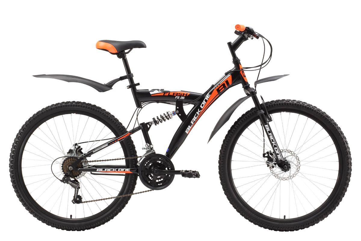 Велосипед Black One Flash FS 26 D (2017) черно-оранжевый 20КОЛЕСА 26 (СТАНДАРТ)<br>Black One Flash – недорогой велосипед двухподвес на стальной раме, который отлично подходит для прогулок на природе. Для повышенного комфорта конструкция разработана таким образом, что гасит неровности дороги с помощью передней и задней подвески. Дисковые механические тормоза способствуют своевременному и комфортному торможению. Обновлённая модель 2017 года оборудована 21 скоростью и курковыми переключателями. Пластиковые крылья и подножка идут в комплекте. Двухподвес Black One Flash FS 26 D – хороший выбор для велопрогулок загородом.<br><br>бренд: BLACK ONE<br>год: 2017<br>рама: Сталь (Hi-Ten)<br>вилка: Амортизационная (пружина)<br>блокировка амортизатора: Нет<br>диаметр колес: 26<br>тормоза: Дисковые механические<br>уровень оборудования: Начальный<br>количество скоростей: 21<br>Цвет: черно-оранжевый<br>Размер: 20