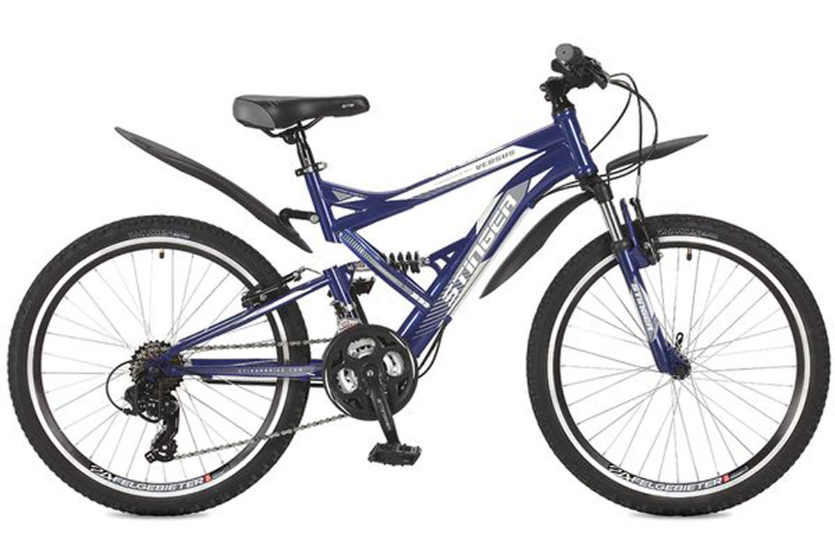 Велосипед Stinger Versus 24 (2016) оранжевый 16.5ОТ 9 ДО 13 ЛЕТ (24-26 ДЮЙМОВ)<br>Двухподвес Stinger Versus 24, на стальной раме, рассчитан на подростков 9 – 13 лет, ростом от 127 до 155 см. Велосипед оснащён надёжными ободными тормозами V-brake. Трансмиссия велосипеда имеет 21 скорость, что позволяет подобрать оптимальную нагрузку. 24 дюймовые колёса имеют двойные обода, которые препятствуют появлению «восьмёрок». Велосипед Stinger Versus 24 отлично подходит для прогулок на свежем воздухе и может быть использован для езды по дорогам с различным покрытием.<br><br>бренд: STINGER<br>год: 2017<br>рама: Сталь (Hi-Ten)<br>вилка: Амортизационная (пружина)<br>блокировка амортизатора: Нет<br>диаметр колес: 24<br>тормоза: Ободные (V-brake)<br>уровень оборудования: Начальный<br>количество скоростей: 21<br>Цвет: оранжевый<br>Размер: 16.5