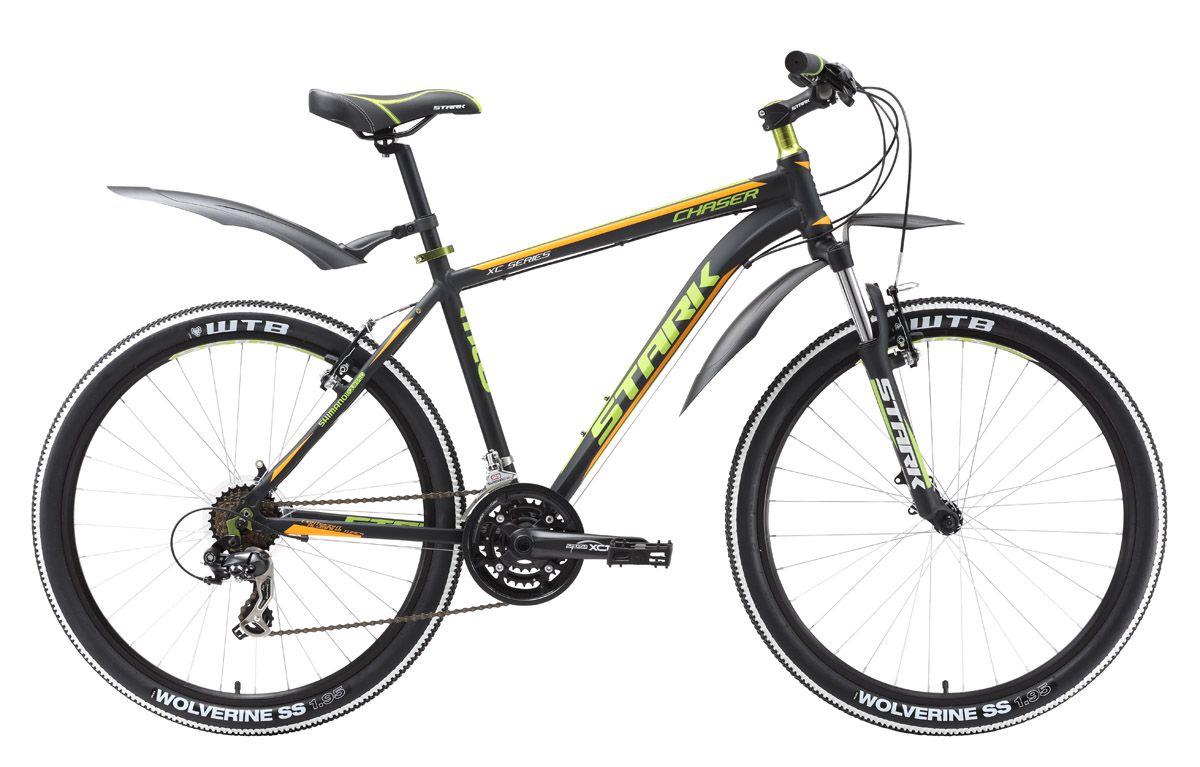 Велосипед Stark Chaser (2016) серебристо-красный 20КОЛЕСА 26 (СТАНДАРТ)<br>Первый велосипед для фитнеса и туристического катания в линейке горных велосипедов STARK с колёсами 26. По сравнению с предыдущими моделями горных велосипедов, начального уровня, велосипед Stark Chaser оснащён более крепкой передней вилкой, интегрированной рулевой колонкой 1 1/8 и крепкими шатунами фирмы Suntour. Для переключения передач, на руле используются полуавтоматы Shimano ST-EF51, что является более удобным по сравнению с системой RevoShift. Ободные тормоза, хорошо зарекомендовавшей себя фирмы Promax, обеспечивают плавное и эффективное торможение. Колёса, собранные на двойных алюминиевых ободах WEINMANN, выгодно выделят ваш велосипед в сочетании с покрышками Kenda. Stark Chaser 2016 года незначительно отличается комплектацией от прошлогодней модели.<br><br>бренд: STARK<br>год: 2016<br>рама: Алюминий (Alloy)<br>вилка: Амортизационная (пружина)<br>блокировка амортизатора: Нет<br>диаметр колес: 26<br>тормоза: Ободные (V-brake)<br>уровень оборудования: Начальный<br>количество скоростей: 21<br>Цвет: серебристо-красный<br>Размер: 20