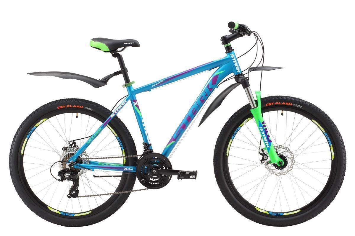 Велосипед Stark Hunter 26.2 D (2017) черно-зеленый 20КОЛЕСА 26 (СТАНДАРТ)<br>Надёжный горный велосипед, который прекрасно подойдёт для езды по дорогам и пересечённой местности. Лёгкая алюминиевая рама позволяет велосипеду хорошо маневрировать и набирать скорость. Велосипед оборудован надёжными механическими дисковыми тормозами. Трансмиссия велосипеда имеет 21 передачу, что позволяет подбирать оптимальный скоростной режим. В модели 2017 года установлена новая, полностью алюминиевая вилка, которая имеет блокировку и preload, блокировку удобно использовать при подъёме в гору или активном разгоне, а preload поможет настроить жёсткость. Помимо этого производитель добавил литой вынос без сварки, а так же кольцо под вынос 10мм, благодаря этому конструкция стала прочнее, а руль может устанавливаться выше.<br><br>бренд: STARK<br>год: 2017<br>рама: Алюминий (Alloy)<br>вилка: Амортизационная (пружина)<br>блокировка амортизатора: Да<br>диаметр колес: 26<br>тормоза: Дисковые механические<br>уровень оборудования: Начальный<br>количество скоростей: 21<br>Цвет: черно-зеленый<br>Размер: 20