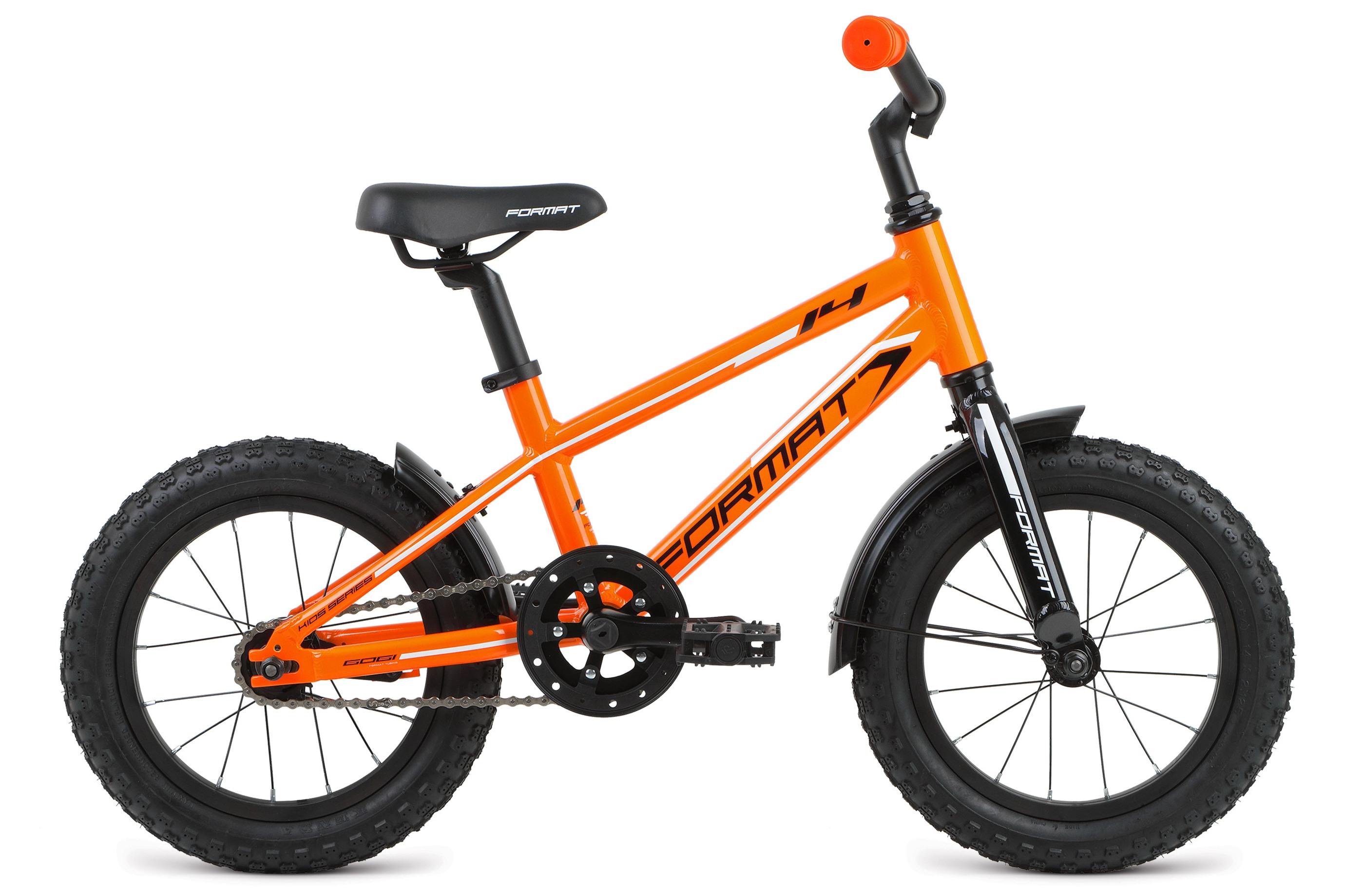 Велосипед Format Boy 14 (2017) оранжевый 8ОТ 1 ДО 3 ЛЕТ (12-14 ДЮЙМОВ)<br><br><br>бренд: FORMAT<br>год: 2017<br>рама: Алюминий (Alloy)<br>вилка: Жесткая (алюминий)<br>блокировка амортизатора: Нет<br>диаметр колес: 14<br>тормоза: Ножной ( Coaster brake)<br>уровень оборудования: Начальный<br>количество скоростей: 1<br>Цвет: оранжевый<br>Размер: 8