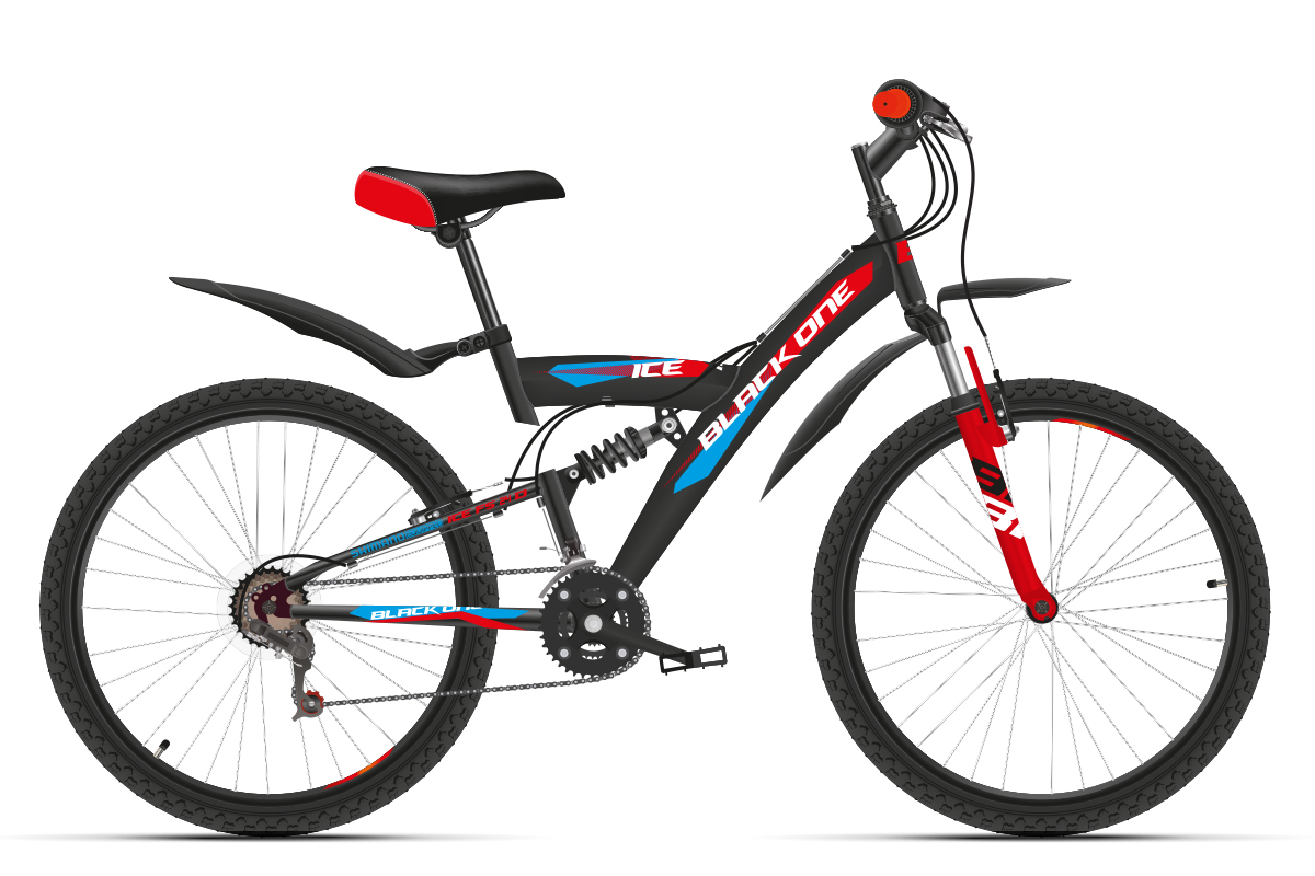 Велосипед Black One ICE FS 24 2018 чёрный-красный-синий 13 д
