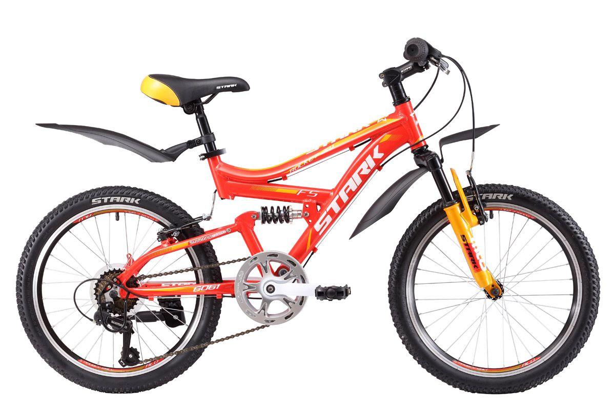 Велосипед Stark Rocket 20.1 FS V (2017) красно-желтый one sizeОТ 6 ДО 9 ЛЕТ (20 ДЮЙМОВ)<br>Если ваш ребенок обладает активным характером, любит скорость, непроходимые участки дороги и постоянно пробует Мир на прочность, то велосипед Stark Rocket 20.1 FS это то, что вам нужно. Данная модель оборудована прочной алюминиевой рамой, передними и задними амортизаторами, 7-ми скоростной трансмиссией и эффективными ободными тормозами - все как у настоящего взрослого велосипеда. Помимо этого Stark Rocket 20.1 FS оснащён надёжными комплектующими фирмы Shimano и колёсами с двойными алюминиевыми ободами, которые имеют повышенную устойчивость к деформации. Вместе со Stark Rocket 20.1 FS юный спортсмен получит первые впечатления от полноценного управления велосипедом и овладеет навыками велосипедной езды.<br><br>бренд: STARK<br>год: 2017<br>рама: Алюминий (Alloy)<br>вилка: Амортизационная (пружина)<br>блокировка амортизатора: Нет<br>диаметр колес: 20<br>тормоза: Ободные (V-brake)<br>уровень оборудования: Начальный<br>количество скоростей: 7<br>Цвет: красно-желтый<br>Размер: one size