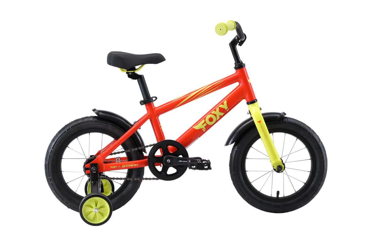 Велосипед Stark Foxy 14 2019 оранжевый-зелёный one size