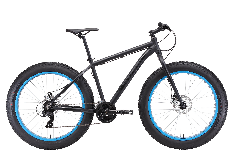 Велосипед Stark Fat 26.2 D 2018 чёрный матовый-чёрный глянцевый-голубой 18 д
