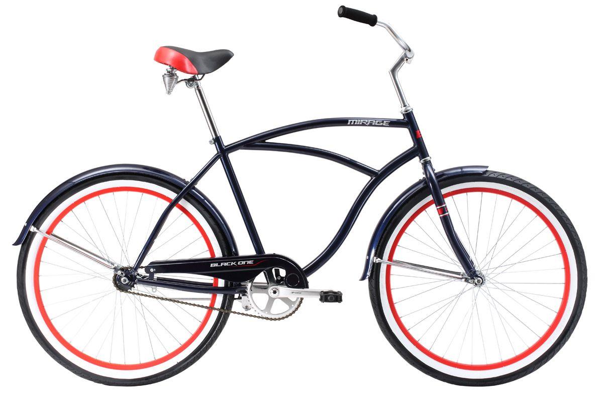 Велосипед Black One Mirage 26 (2017) черно-красный 20КРУИЗЕРЫ / РЕТРО<br>Мужской круизёр Black One Mirage 26, на стальной раме, отлично подходит для любителей спокойной езды по городу. Геометрия рамы рассчитана на максимальный комфорт и изысканный стиль. Высокий руль удобен для управления и даёт ощущение спокойствия и уверенности. Велосипед оснащён удобным ножным тормозом и одной передачей. 26-дюймовые колёса, на усиленных ободах, обеспечивают отличное сцепление с дорогой и устойчивость велосипеда. Широкие покрышки и удобное, подпружиненное седло гасят неровности дороги. Black One Mirage 26 оборудован широкими крыльями, подножкой и защитой цепи.<br><br>бренд: BLACK ONE<br>год: 2017<br>рама: Сталь (Hi-Ten)<br>вилка: Жесткая (сталь)<br>блокировка амортизатора: Нет<br>диаметр колес: 26<br>тормоза: Ножной ( Coaster brake)<br>уровень оборудования: Начальный<br>количество скоростей: 1<br>Цвет: черно-красный<br>Размер: 20