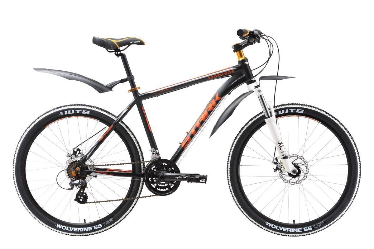Велосипед Stark Temper Disc (2016) черно-оранжевый 18КОЛЕСА 26 (СТАНДАРТ)<br>Stark Temper Disc соединил в себе лучшие характеристики горного велосипеда для прогулочного катания. Имея полный набор опций велосипедов серии Temper - оборудование Shimano Altus и переднюю амортизационную вилку Suntour с ходом 63 мм, эта модель в версии Temper Disc получила механические дисковые тормоза фирмы Promax с роторами 160 мм. Дисковый тормоз имеет стабильные характеристики в любую погоду, на любой дороге ему не страшны грязь и снег, к которым более чувствителен ободной тормоз. Купив горный велосипед Stark Temper Disc, вы получите надёжного друга с приятным характером. Stark Temper Disc2016 года незначительно отличается комплектацией от прошлогодней модели.<br><br>бренд: None<br>год: 2016<br>рама: Алюминий (Alloy)<br>вилка: Амортизационная (пружина)<br>блокировка амортизатора: Нет<br>диаметр колес: 26<br>тормоза: Дисковые механические<br>уровень оборудования: Любительский<br>количество скоростей: 21<br>Цвет: черно-оранжевый<br>Размер: 18