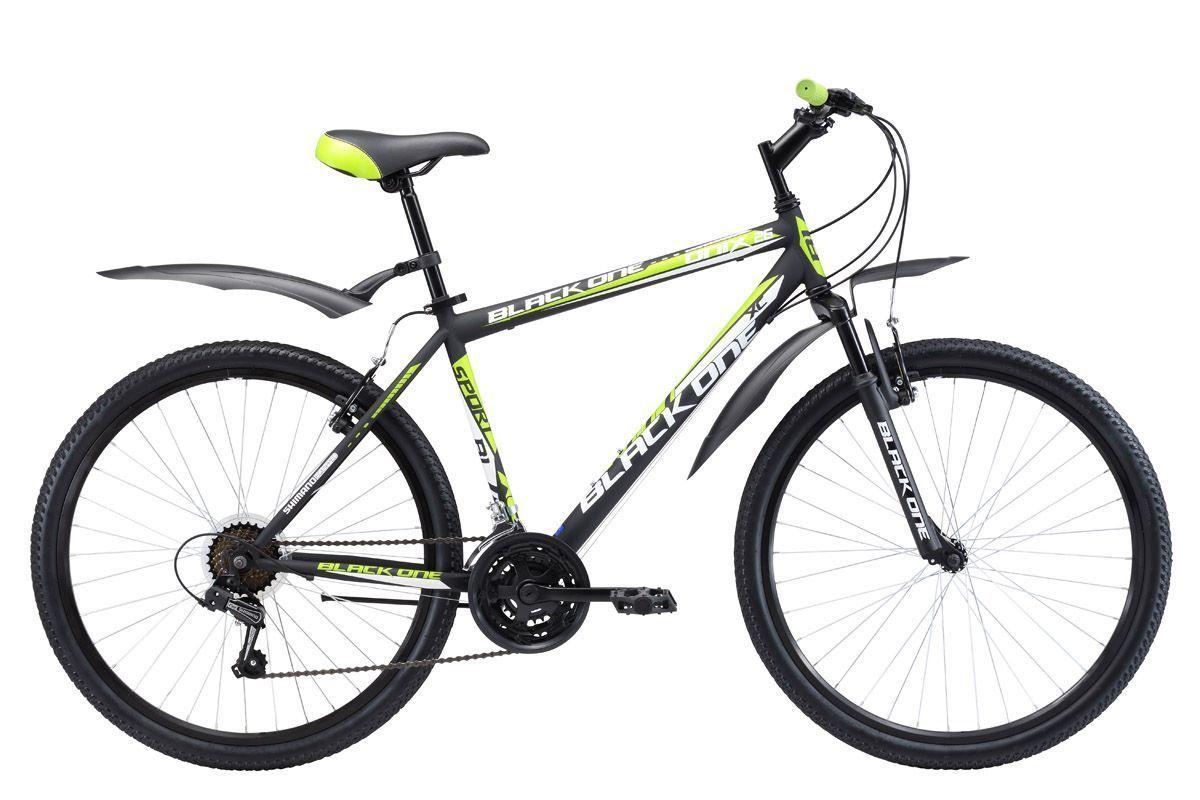 Велосипед Black One Onix 26 (2017) черно-зеленый 18КОЛЕСА 26 (СТАНДАРТ)<br>Black One Onix 26 – надёжный горный велосипед с ободными тормозами, предназначенный для прогулок по различным типам дорог. Велосипед оснащён стальной рамой и передней амортизационной вилкой. Модель 2017 года оборудована 21 скоростью и курковыми переключателями. 26 дюймовые колёса, с двойными ободами, крепятся в вилке эксцентриком. Такой тип крепления удобен при погрузке велосипеда в автомобиль, так как позволяет быстро снять колесо. Также с помощью эксцентрика зажимается подседельный штырь, облегчая регулировку седла по высоте. В комплекте с горным велосипедом Black One Onix 26 идут пластиковые крылья и подножка. При желании, вы можете выбрать модель с механическим дисковым тормозом Black One Onix 26 D или на облегчённой алюминиевой раме – Black One Onix 26 Alloy.<br><br>бренд: BLACK ONE<br>год: 2017<br>рама: Сталь (Hi-Ten)<br>вилка: Амортизационная (пружина)<br>блокировка амортизатора: Нет<br>диаметр колес: 26<br>тормоза: Ободные (V-brake)<br>уровень оборудования: Начальный<br>количество скоростей: 21<br>Цвет: черно-зеленый<br>Размер: 18