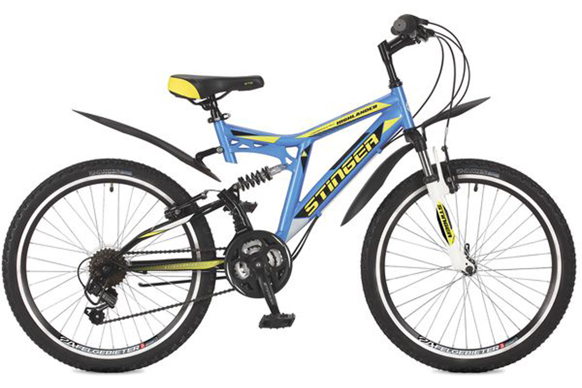 Велосипед Stinger Highlander 100V 24 (2016) синий 16.5ОТ 9 ДО 13 ЛЕТ (24-26 ДЮЙМОВ)<br>Двухподвес Stinger Highlander 100V 24, на стальной раме, предназначен для подростков имеющих рост 127-155 см. Велосипед оборудован ободными тормозами типа V-brake и 18 скоростной трансмиссией. В комплектацию велосипеда входят крылья, защищающие одежду от брызг и грязи из-под колёс. ВелосипедHighlander 100V 24 отлично подходит для прогулок на природе и может быть использован для езды по дорогам с различным типом покрытия.<br><br>бренд: STINGER<br>год: 2017<br>рама: Сталь (Hi-Ten)<br>вилка: Амортизационная (пружина)<br>блокировка амортизатора: Нет<br>диаметр колес: 24<br>тормоза: Ободные (V-brake)<br>уровень оборудования: Начальный<br>количество скоростей: 18<br>Цвет: синий<br>Размер: 16.5