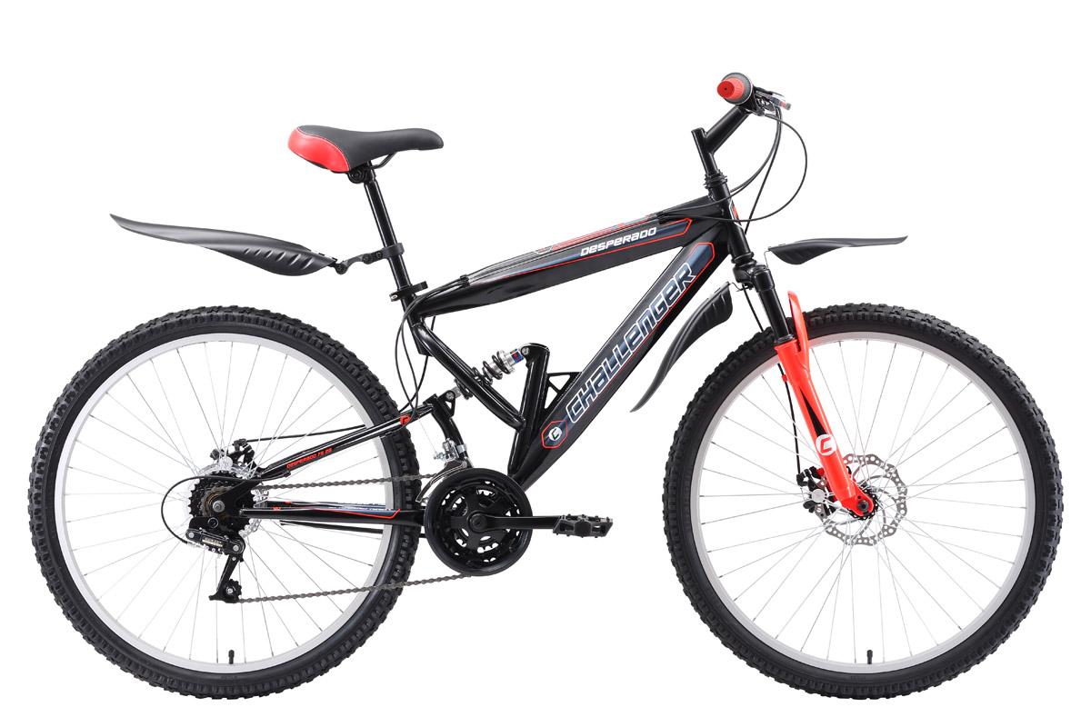 Велосипед Challenger Desperado FS 26 D 2018 чёрный-зелёный-белый 16 д