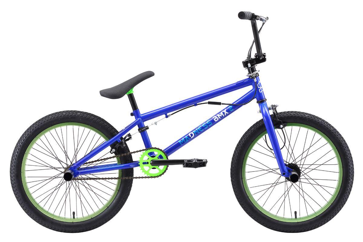 Велосипед Stark Madness BMX 2 (2018) синий/зелёный/голубой one sizeBMX<br><br><br>бренд: STARK<br>год: 2018<br>рама: Сталь (Hi-Ten)<br>вилка: Жесткая (сталь)<br>блокировка амортизатора: Нет<br>диаметр колес: 20<br>тормоза: Клещевые (U-brake)<br>уровень оборудования: Начальный<br>количество скоростей: 1<br>Цвет: синий/зелёный/голубой<br>Размер: one size