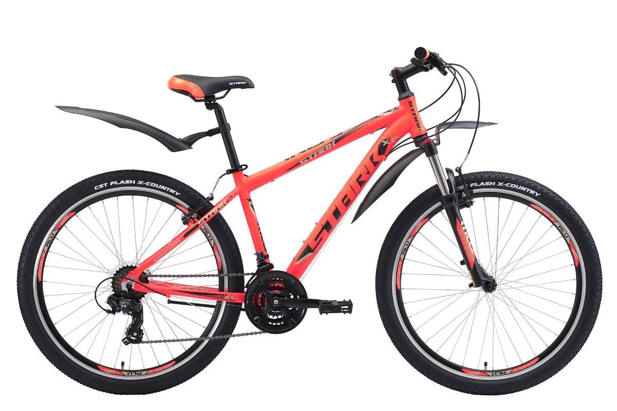 Велосипед Stark Indy 26.2 V (2018) оранжевый/чёрный/серый 18КОЛЕСА 26 (СТАНДАРТ)<br>Stark Indy 26.2 V #40;2018#41; - надёжный горный велосипед по доступной цене. Велосипед собран на крепкой и лёгкой алюминиевой раме и оснащён ободными тормозами типа V-brake. Навесное оборудование, а именно переключатели скоростей #40;передний и задний#41;, кассета и монетки - известного бренда Shimano. Трансмиссия велосипеда имеет 21 скорость, что позволяет точно подбирать нагрузку. Велосипед имеет вилку с возможностью блокировки, и настройкой жёсткости.<br><br>бренд: STARK<br>год: 2018<br>рама: Алюминий (Alloy)<br>вилка: Амортизационная (пружина)<br>блокировка амортизатора: Нет<br>диаметр колес: 26<br>тормоза: Ободные (V-brake)<br>уровень оборудования: Начальный<br>количество скоростей: 21<br>Цвет: оранжевый/чёрный/серый<br>Размер: 18