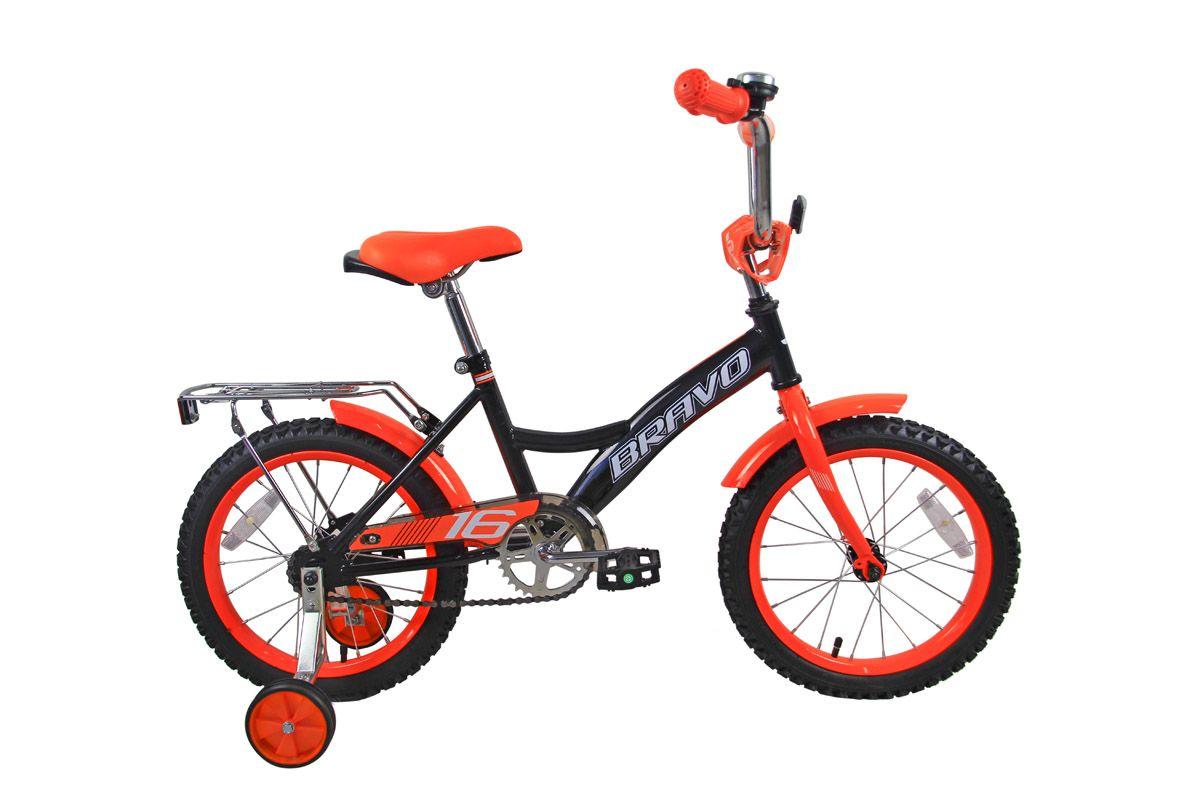 Велосипед Bravo 16 Boy (2018) чёрный/оранжевый/белый one sizeОТ 3 ДО 6 ЛЕТ (16-18 ДЮЙМОВ)<br><br><br>бренд: BRAVO<br>год: 2018<br>рама: Сталь (Hi-Ten)<br>вилка: Жесткая (сталь)<br>блокировка амортизатора: None<br>диаметр колес: 16<br>тормоза: Ножной ( Coaster brake)<br>уровень оборудования: Начальный<br>количество скоростей: 1<br>Цвет: чёрный/оранжевый/белый<br>Размер: one size