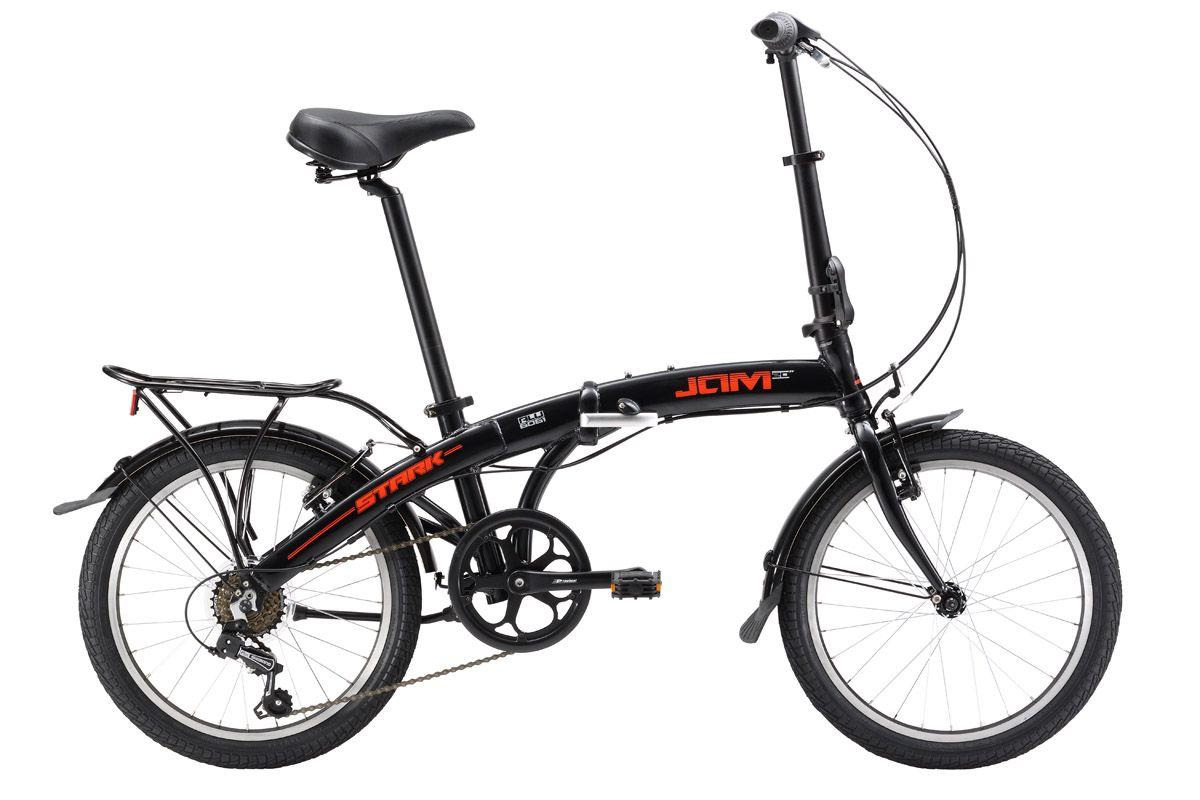 Велосипед Stark Jam 20.1 V (2017) черно-красный one sizeГОРОДСКИЕ СКЛАДНЫЕ<br>Складной велосипед Stark Jam обладает компактными размерами, что позволяет с лёгкостью перевозить его в автомобиле и общественном транспорте. Благодаря увеличенным колёсам, #40;относительно Stark Jam 16.1#41; этот велосипед уверенно проходит небольшие неровности на дороге и держит хорошую скорость в городском движении. Велосипед оборудован проверенными тормозами типа V-brake от известного бренда Promax. Этот велосипед отличается от Jam 20.1 SV 6-ти скоростной трансмиссией. В обновленной модели 2017 года установлен сквозной подседельный штырь, проходящий через кареточный узел, изменена геометрия выноса руля, а также изменены механизмы складывания. Благодаря этим изменениям велосипед стал еще удобнее и надежнее. Полезными дополнениями стали объёмные крылья, подножка, компактный багажник и мягкая сумка.<br><br>бренд: STARK<br>год: 2017<br>рама: Алюминий (Alloy)<br>вилка: Жесткая (сталь)<br>блокировка амортизатора: None<br>диаметр колес: 20<br>тормоза: Ободные (V-brake)<br>уровень оборудования: Начальный<br>количество скоростей: 6<br>Цвет: черно-красный<br>Размер: one size
