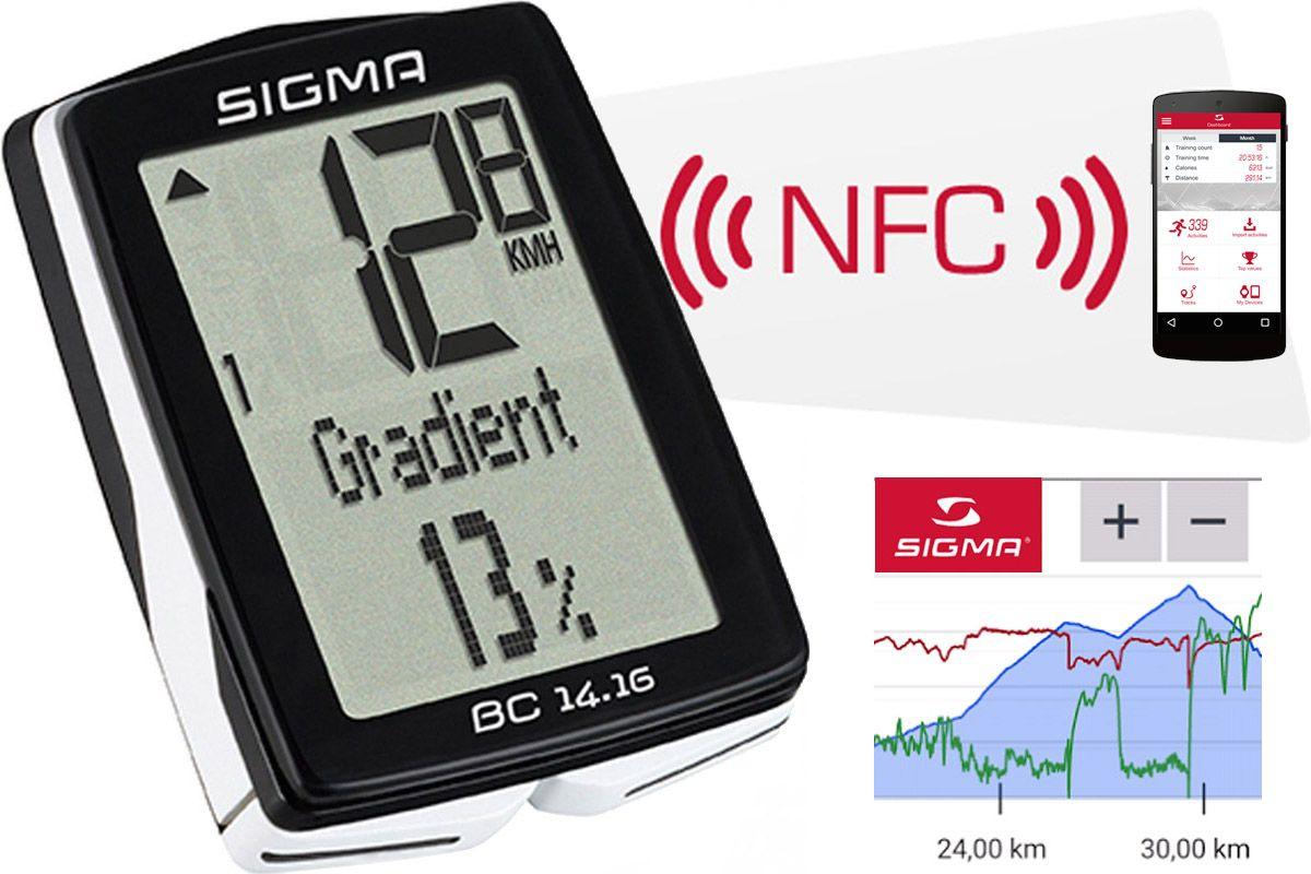 Велокомпьютер Sigma BC 14.16 белыйВЕЛОКОМПЬЮТЕРЫ<br>Проводной велокомпьютер Sigma BC 14.16, кроме стандартных функций скорости, расстояния и времени, отображает профиль высот за последние 3-5 км пути. А также: набор высоты, углы спуска и подъёма, температуры окружающего воздуха.  Sigma BC 14.16 имеет возможность подключения к ПК. После приобретения программного обеспечения SIGMA DATA CENTER и стыковочного модуля, общие и текущие данные могут быть без труда перенесены на ПК. Кроме того, при помощи ПК можно производить настройку велокомпьютера.  Велокомпьютер Sigma BC 14.16 поддерживает технологию NFC, что позволяет легко выполнять все настройки на смартфоне с помощью приложения SIGMA LINK. По возвращении из поездки с помощью NFC можно перенести данные о поездке на смартфон.  Водонепроницаемое исполнение согласно стандарта IPx8.       Гарантия: SIGMA SPORT предоставляет на компьютер гарантию сроком на 2 года с даты покупки. Гарантия распространяется на дефекты материала и исполнения самого компьютера, датчика/передатчика и рулевого крепления. Гарантия не распространяется на кабели и батарейки, а также монтажные материалы. Гарантия действительна только в том случае, если соответствующие изделия не вскрывались (исключение: отсек компьютера для батареек), не применялась грубая сила, и нет следов преднамеренного повреждения.     На этой странице, вы можете скачать полную инструкцию для велокомпьютеров Sigma BC 14.16   ФУНКЦИИ   Пробег за день  Время в пути  Средняя скорость  Максимальная скорость  Формат времени  Температура  Время в пути  Пройденный путь  Профиль высот  Текущая высота  Угол спуска/подъема  Увеличение высоты за день  Максимальная высота  Общий пробег  Общее время в пути  Общее увеличение высоты<br><br>бренд: SIGMA<br>год: Всесезонный<br>рама: None<br>вилка: None<br>блокировка амортизатора: None<br>диаметр колес: None<br>тормоза: None<br>уровень оборудования: None<br>количество скоростей: None<br>Цвет: белый<br>Размер: None