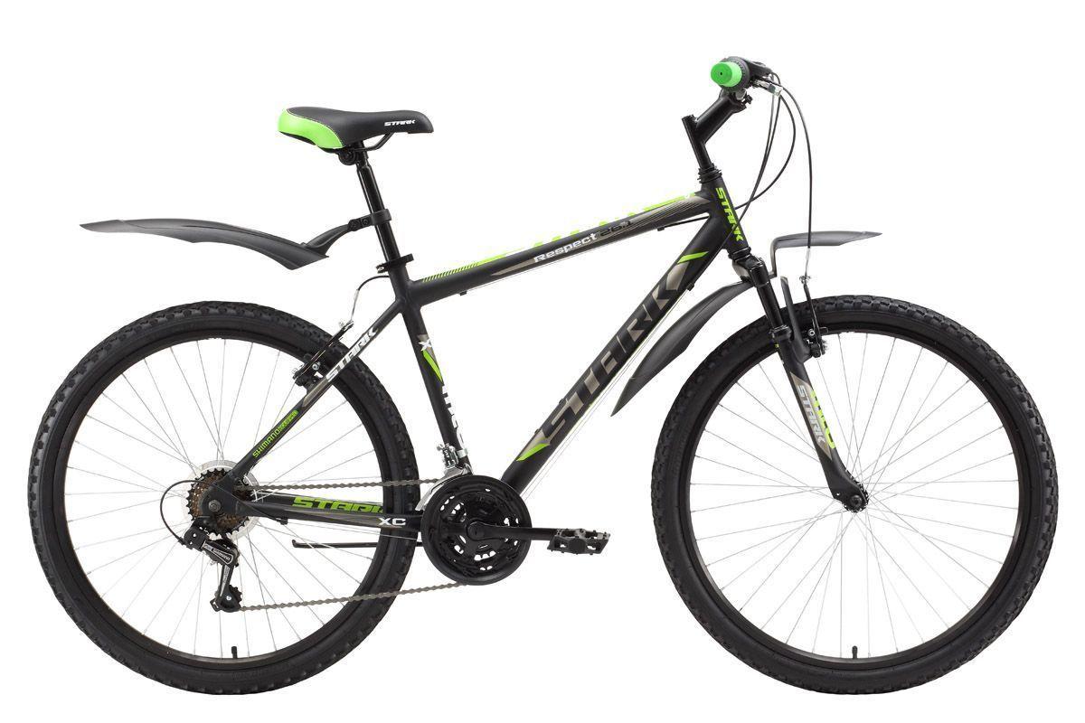 Велосипед Stark Respect 26.1 V (2017) черно-зеленый 18КОЛЕСА 26 (СТАНДАРТ)<br>Недорогой, горный велосипед, который прекрасно подходит для прогулок в парке и за городом. Данная модель оснащена лёгкой алюминиевой рамой и ободными тормозами типа V-brake. Трансмиссия велосипеда имеет 18 передач, и позволяет легко подбирать нагрузку. Велосипед оборудован передней амортизационной вилкой, полуинтегрированной рулевой колонкой, а также комфортными переключателями передач RevoShift #40;вращающееся вокруг руля кольцо#41;. Модель 2017 года оснащена регулируемым выносом, который позволяет настраивать высоту и угол наклона руля, чтобы подобрать более удобную посадку. Мягкое седло, широкие педали, удобная подножка и велосипедные крылья сделают вашу прогулку еще приятнее.<br><br>бренд: STARK<br>год: 2017<br>рама: Алюминий (Alloy)<br>вилка: Амортизационная (пружина)<br>блокировка амортизатора: Нет<br>диаметр колес: 26<br>тормоза: Ободные (V-brake)<br>уровень оборудования: Начальный<br>количество скоростей: 18<br>Цвет: черно-зеленый<br>Размер: 18