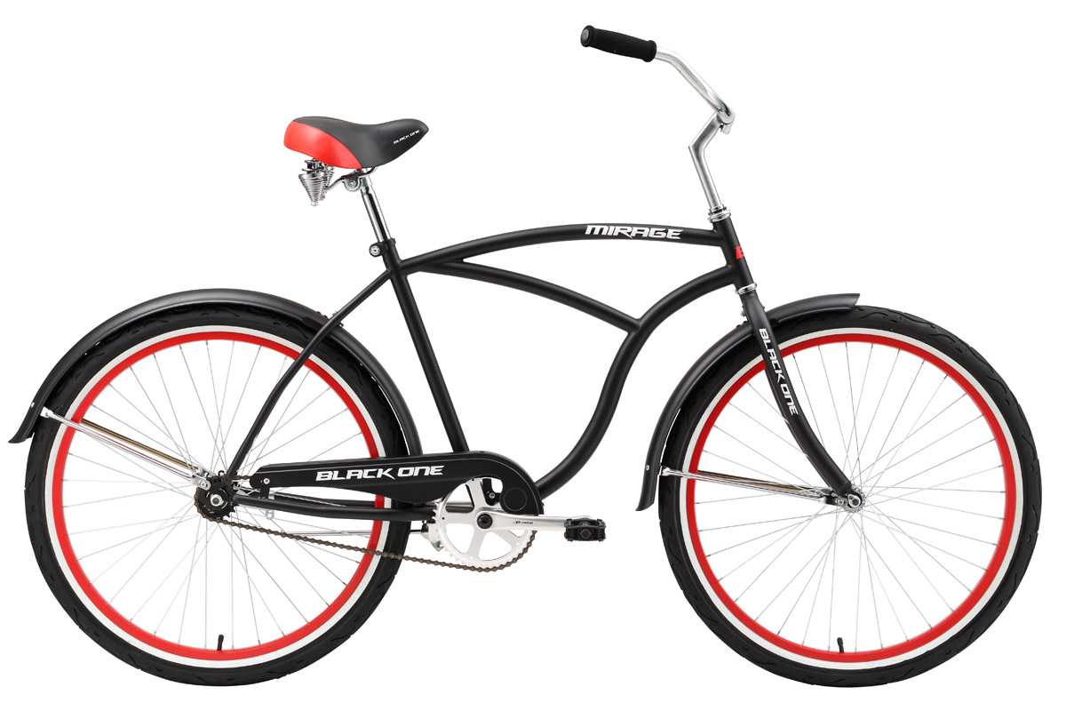 Велосипед Black One Mirage (2016) черно-красный 18КРУИЗЕРЫ / РЕТРО<br>Black One Mirage это, мужской вариант круизера на стальной раме. Созданный для спокойной езды по хорошим асфальтированным дорогам Black One Mirage имеет одну передачу и ножной тормоз. Геометрия рамы рассчитана на максимальный комфорт и изысканный стиль. Высоко расположенный, широкий руль удобный для управления, даёт ощущение спокойствия и уверенности. Широкие покрышки и удобное, подпружиненное седло гасят толчки от дорожного покрытия. Как и положено комфортному велосипеду, круизер Black One Mirage, оборудован крыльями, которые исключают попадание грязи на одежду. В комплектацию также входят подножка и защита цепи.<br><br>бренд: BLACK ONE<br>год: 2016<br>рама: Сталь (Hi-Ten)<br>вилка: Жесткая (сталь)<br>блокировка амортизатора: None<br>диаметр колес: 26<br>тормоза: Ножной ( Coaster brake)<br>уровень оборудования: Начальный<br>количество скоростей: 1<br>Цвет: черно-красный<br>Размер: 18