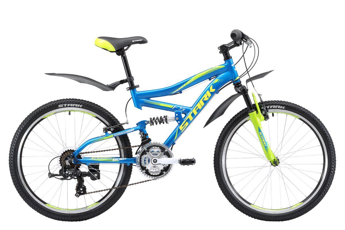 Велосипед Stark Rocket 24.2 FS V 2017 сине-зеленый one size