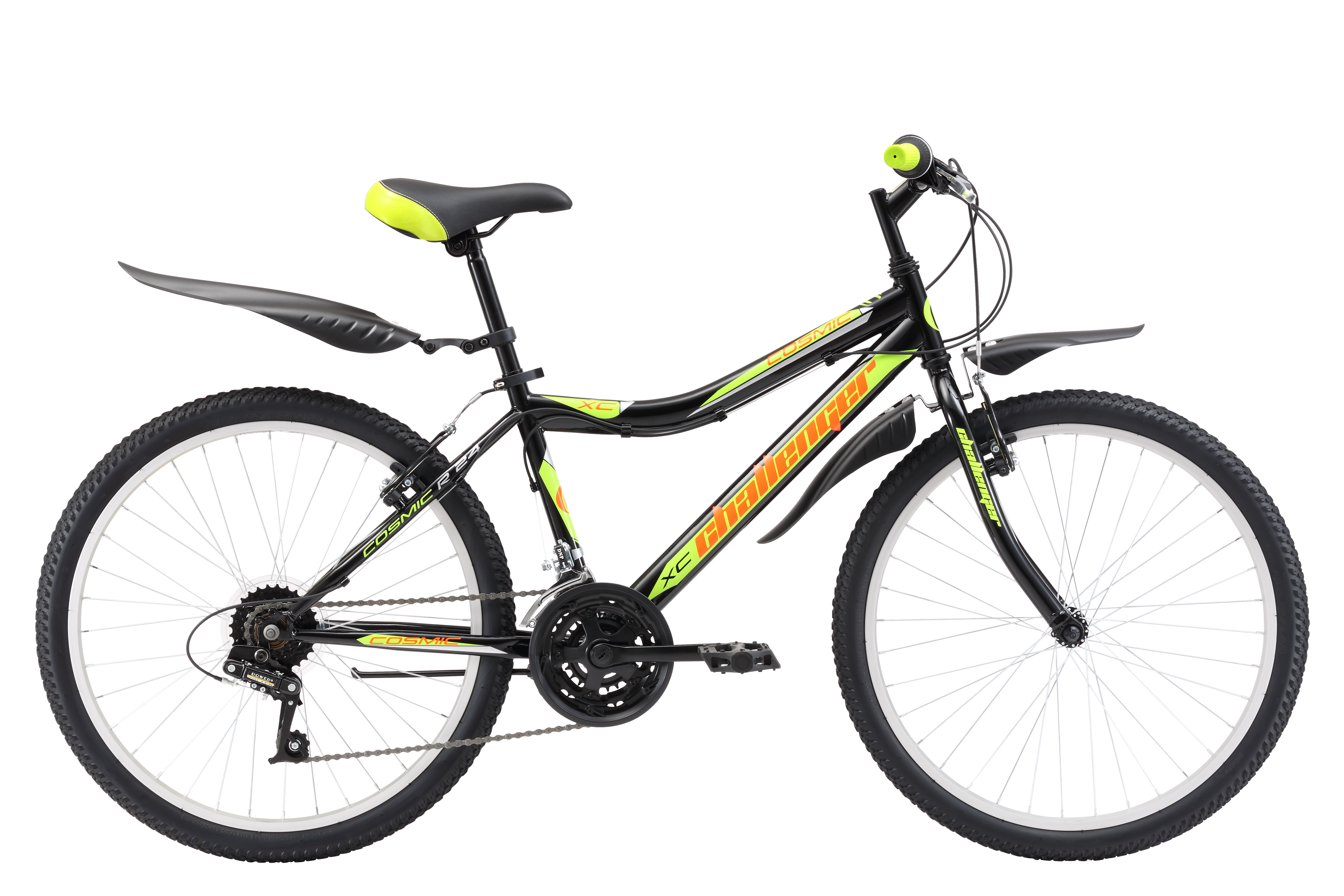Велосипед Challenger Cosmic 24 R (2017) черно-желтый 13ОТ 9 ДО 13 ЛЕТ (24-26 ДЮЙМОВ)<br>Подростковый велосипед Challenger Cosmic R 24, подходит для велопрогулок на природе и в городе. В основе конструкции лежит прочная стальная рама. Передняя подвеска оборудована жёсткой вилкой, которая легче чем амортизационные, и прекрасно подходит для катания по асфальту. Колёса на усиленных ободах устойчивы к ударам и хорошо держат круглую форму. Трансмиссия подросткового велосипеда Challenger Cosmic R 24 имеет 18 передач и управляется переключателями типа RevoShift. Ободные тормоза типа V-brake надёжны и просты в облуживании. Подростковый велосипед Challenger Cosmic R 24 укомплектован подножкой и удобными крыльями.<br><br>бренд: CHALLENGER<br>год: 2017<br>рама: Сталь (Hi-Ten)<br>вилка: Жесткая (сталь)<br>блокировка амортизатора: Нет<br>диаметр колес: 24<br>тормоза: Ободные (V-brake)<br>уровень оборудования: Начальный<br>количество скоростей: 18<br>Цвет: черно-желтый<br>Размер: 13