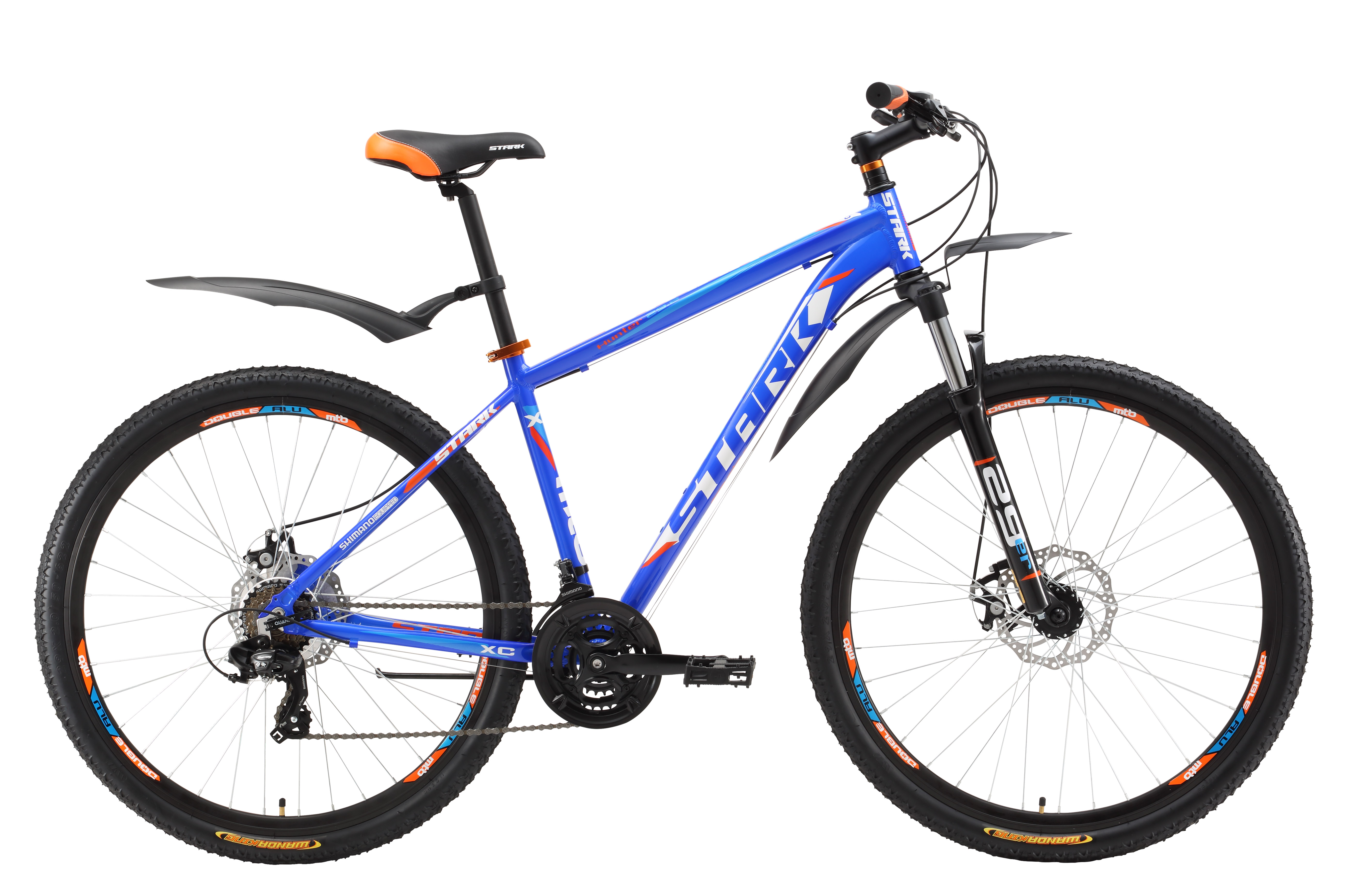 Велосипед Stark Hunter 29.2 D (2017) сине-оранжевый 18КОЛЕСА 29 (НАЙНЕРЫ)<br>Отличный горный велосипед с диаметром колес 29 дюймов. Эта модель прекрасно подходит для езды по дорогам и пересечённой местности. Лёгкая алюминиевая рама позволяет велосипеду хорошо маневрировать и набирать скорость. Велосипед оборудован надёжными механическими тормозами с диаметром ротора 180мм. Трансмиссия велосипеда имеет 21 передачу, что позволяет подбирать оптимальный скоростной режим. В модели 2017 года установлена новая, полностью алюминиевая вилка имеющая блокировку и preload, блокировка будет полезна при активном разгоне или подъеме в гору, а preload поможет настроить жёсткость. Производитель так же добавил литой вынос с крышкой 4 болта и кольцо под вынос 10 мм, благодаря этому, руль может устанавливаться выше, а крепление стало надёжнее. Помимо этого производитель увеличил ширину руля до 700 мм, для более легкого управления велосипедом при езде по пересечённой местности.<br><br>бренд: STARK<br>год: 2017<br>рама: Алюминий (Alloy)<br>вилка: Амортизационная (пружина)<br>блокировка амортизатора: Да<br>диаметр колес: 29<br>тормоза: Дисковые механические<br>уровень оборудования: Начальный<br>количество скоростей: 21<br>Цвет: сине-оранжевый<br>Размер: 18