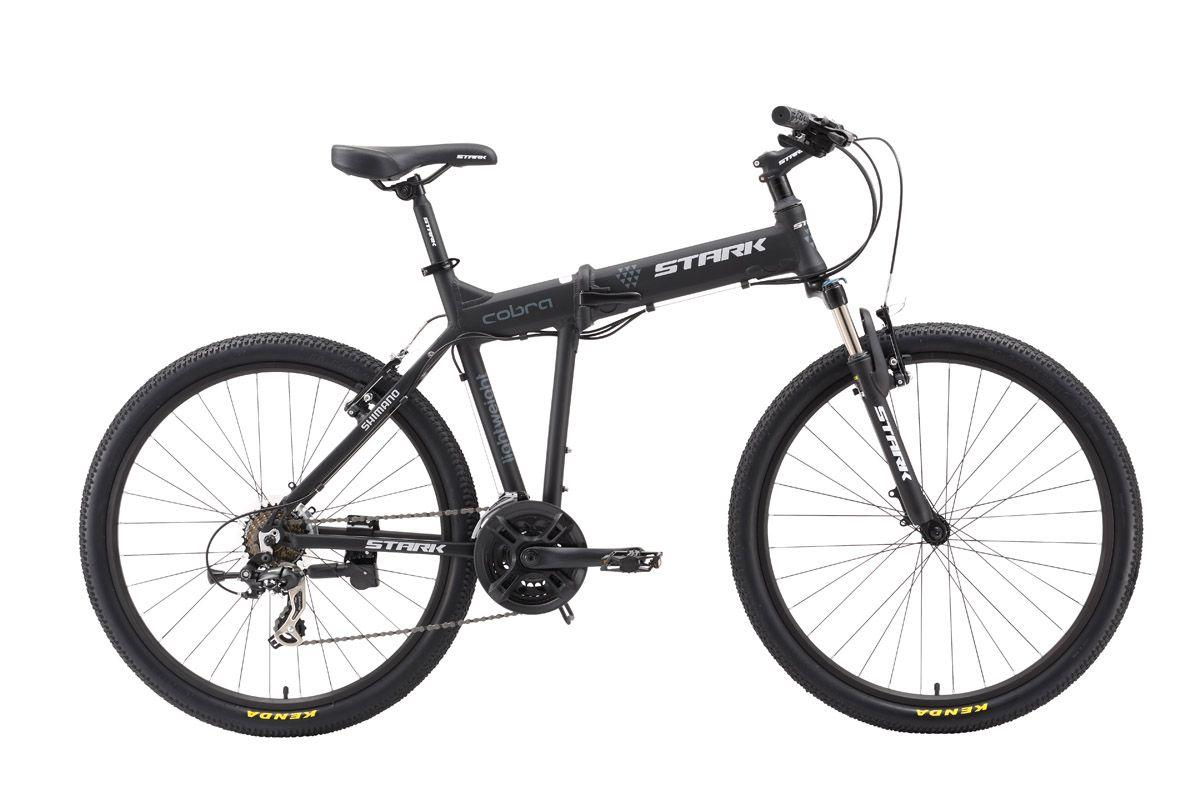 Велосипед Stark Cobra (2016) черно-серый 17.5ГОРНЫЕ СКЛАДНЫЕ<br>Stark Cobra это, складной горный велосипед с колёсами 26 дюймов, удобный для отдыха и туризма. Основное отличие велосипеда от остальных моделей этой линейки - ободные тормоза V-brake. Stark Cobra имеет 21-скоростную трансмиссию, собранную на оборудовании Shimano Tourney, интегрированную рулевую колонку и мягкую переднюю вилку. Алюминиевая рама легко складывается и фиксируется надёжным замком. В сложенном состоянии велосипед легко помещается в багажнике автомобиля. С горным складным велосипедом Stark Cobra, становятся доступными самые дальние уголки природы. Если вас не останавливает плохая погода и грязные дороги, то советуем рассмотреть модели, укомплектованные дисковыми тормозами Stark Cobra Disc и Stark Cobra HD.<br><br>бренд: STARK<br>год: 2016<br>рама: Алюминий (Alloy)<br>вилка: Амортизационная (пружина)<br>блокировка амортизатора: Да<br>диаметр колес: 26<br>тормоза: Ободные (V-brake)<br>уровень оборудования: Начальный<br>количество скоростей: 21<br>Цвет: черно-серый<br>Размер: 17.5