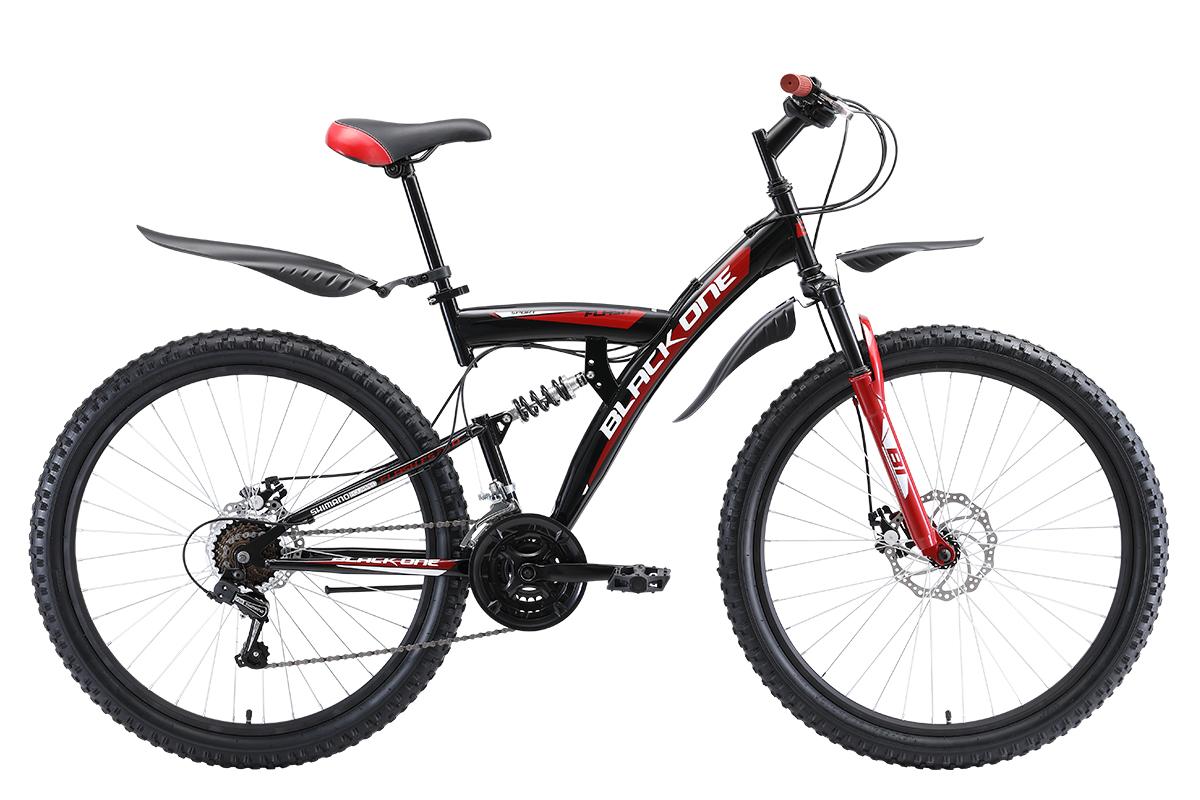 Велосипед Black One Flash FS 27.5 D 2019 чёрный-красный-белый 20 д