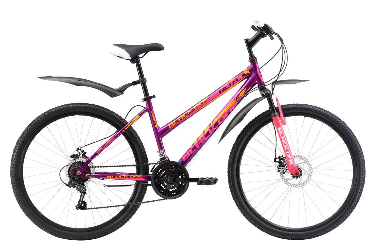Велосипед Black One Alta 26 D (2017) фиолетово-розовый 18СПОРТИВНЫЕ<br>Женский горный велосипед Black One Alta 26 D, на стальной раме, оборудован механическим дисковым тормозом. Такой тип тормоза обеспечивает эффективное торможение на бездорожье, так как менее чувствителен к загрязнениям. 26 дюймовые колёса имеют двойные алюминиевые обода, которые более устойчивы к деформациям. Для крепления колеса в вилке применяются эксцентрики, с помощью которых снятие и установка колёс происходит быстро и легко. Женский горный велосипед имеет 21 передачу, которые выбираются с помощью курковых переключателей. Благодаря дисковым тормозам, надёжным крыльям и широким покрышкам Вы будете чувствовать себя уверенно во время велопрогулок на природе.<br><br>бренд: BLACK ONE<br>год: 2018<br>рама: Сталь (Hi-Ten)<br>вилка: Амортизационная (пружина)<br>блокировка амортизатора: Нет<br>диаметр колес: 26<br>тормоза: Дисковые механические<br>уровень оборудования: Начальный<br>количество скоростей: 21<br>Цвет: фиолетово-розовый<br>Размер: 18