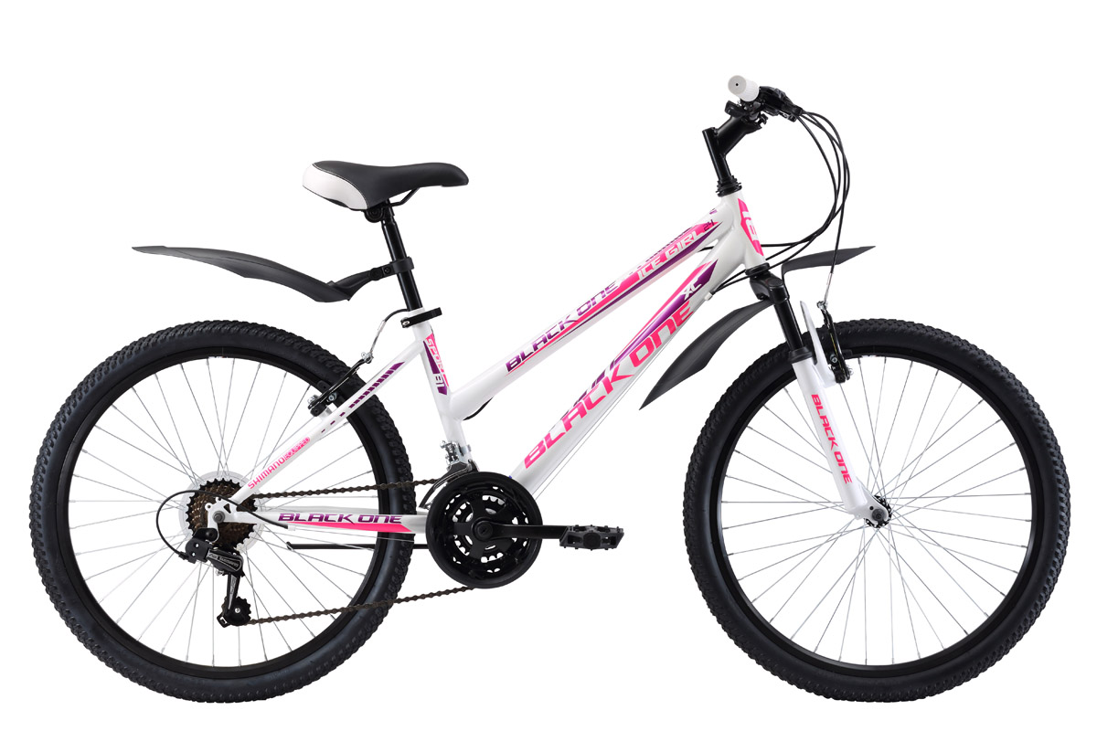 Велосипед Black One Ice Girl 24 (2017) бело-розовый 13ОТ 9 ДО 13 ЛЕТ (24-26 ДЮЙМОВ)<br>Подростковый велосипед BlackOne Ice Girl 24, для девочек ростом 127-155см, отличается заниженной верхней трубой стальной рамы. 24-дюймовые колёса, на двойных алюминиевых ободах, хорошо сохраняют круглую форму и легко катят по дороге. Обновлённая модель 2017 года оборудована 21 скоростью и курковыми переключателями. Торможение выполняют простые и эффективные ободные тормоза. Для комфортного пользования подростковый велосипед Black One Ice Girl 24 дополнительно укомплектован пластиковыми крыльями и подножкой.<br><br>бренд: BLACK ONE<br>год: 2017<br>рама: Сталь (Hi-Ten)<br>вилка: Амортизационная (пружина)<br>блокировка амортизатора: Нет<br>диаметр колес: 24<br>тормоза: Ободные (V-brake)<br>уровень оборудования: Начальный<br>количество скоростей: 21<br>Цвет: бело-розовый<br>Размер: 13
