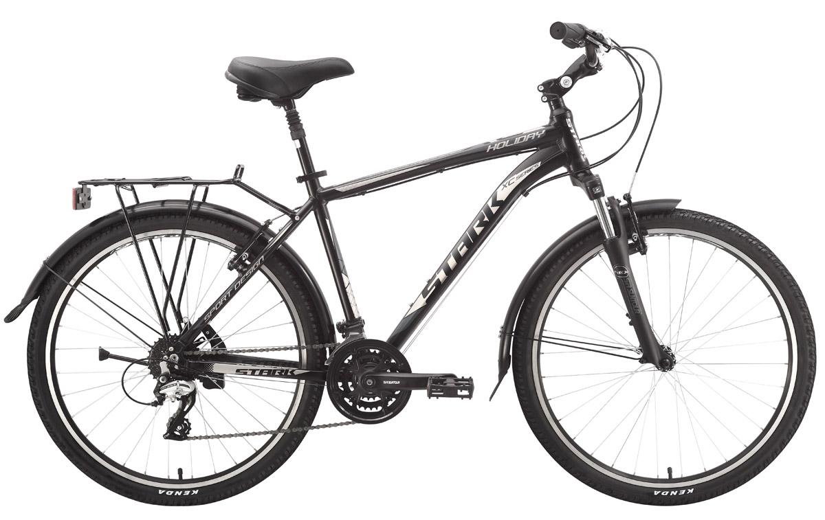 Велосипед Stark Holiday (2015) черно-серый 16КОМФОРТНАЯ ПОСАДКА<br>Дорожный велосипед для города и поездок на дачу, Stark Holiday, отлично укомплектован всем необходимым. Алюминиевая рама, с крепким рулевым узлом, оборудована надёжной мягкой вилкой Suntour, с ходом 63мм, что позволяет уверенно проезжать мелкие препятствия, и уменьшает нагрузку на руки. Трансмиссия горного велосипеда, с 21 передачей и ободные тормоза Promax прекрасно отрабатывают разгоны и торможения, как в городских условиях, так и на грунтовых дорогах. Хотя, надо иметь в виду, что покрышки Kenda, которые идут в базовой комплектации, оптимальны для асфальтированных дорог. Всё таки этот велосипед, больше рассчитан на комфорт чем на туристические поездки, поэтому он изначально оборудован полноразмерными крыльями, амортизированным подседельным штырём и выносом руля с изменяемым углом наклона. Крепкий багажник, способный нести нагрузку до 25кг, дополняет общую картину.<br><br>бренд: STARK<br>год: Всесезонный<br>рама: Алюминий (Alloy)<br>вилка: Амортизационная (пружина)<br>блокировка амортизатора: Нет<br>диаметр колес: 26<br>тормоза: Ободные (V-brake)<br>уровень оборудования: Любительский<br>количество скоростей: 24<br>Цвет: черно-серый<br>Размер: 16