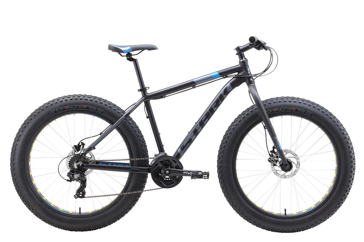 Велосипед Stark Fat 26.2 HD 2019 чёрный-голубой-серый 20 д