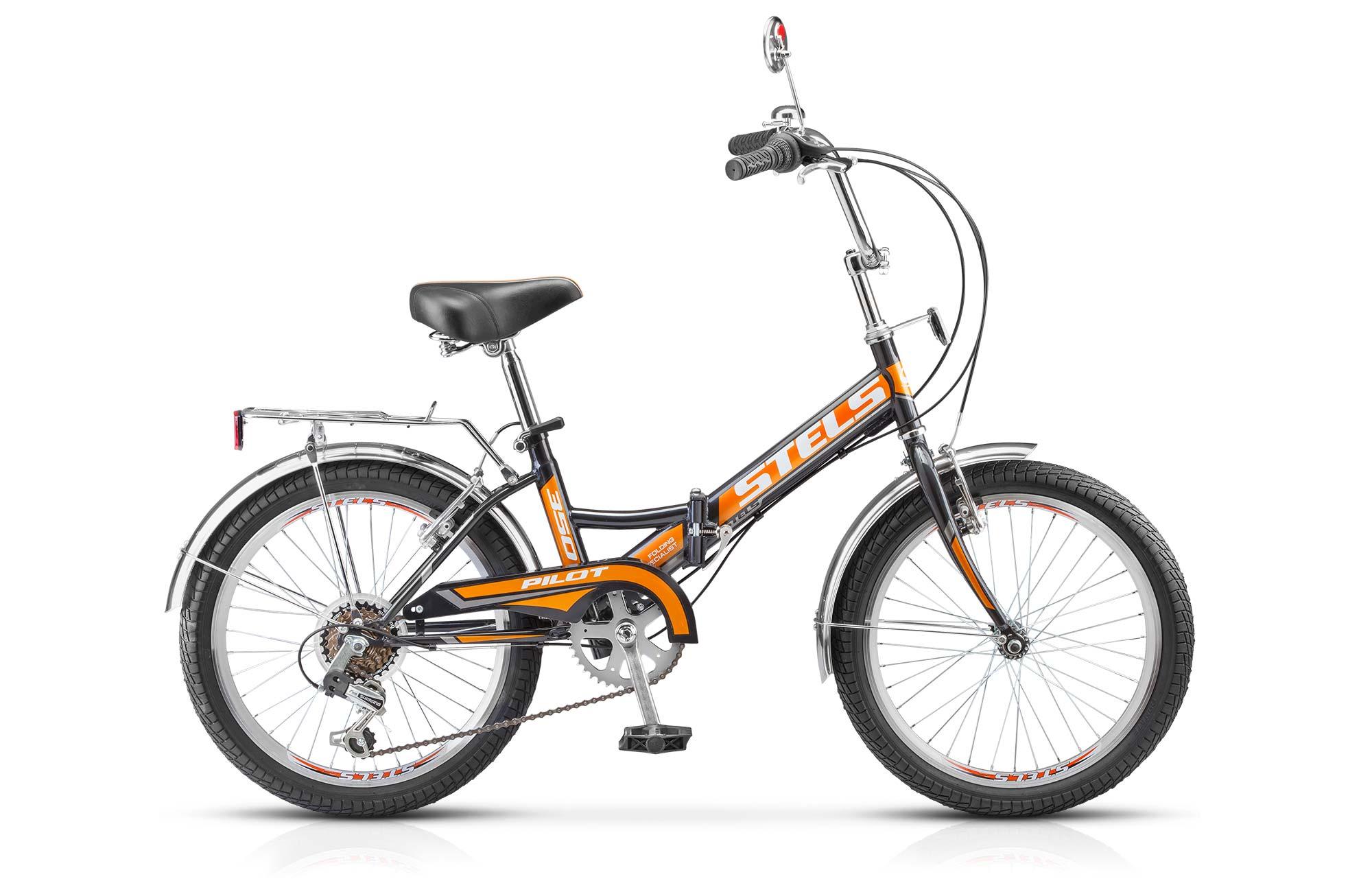 Велосипед Stels Pilot 350 20 (2017) черно-оранжевый 13ГОРОДСКИЕ СКЛАДНЫЕ<br>Складной эконом велосипед Stels Pilot 350 оснащен стальной рамой. Установлены жесткая стальная вилка, а также начальное оборудование. Stels Pilot 350 имеет складную конструкцию для удобства хранения и перевозки в транспорте.<br><br>бренд: STELS<br>год: 2017<br>рама: Сталь (Hi-Ten)<br>вилка: Жесткая (сталь)<br>блокировка амортизатора: None<br>диаметр колес: 20<br>тормоза: Ободные (V-brake)<br>уровень оборудования: Любительский<br>количество скоростей: 6<br>Цвет: черно-оранжевый<br>Размер: 13