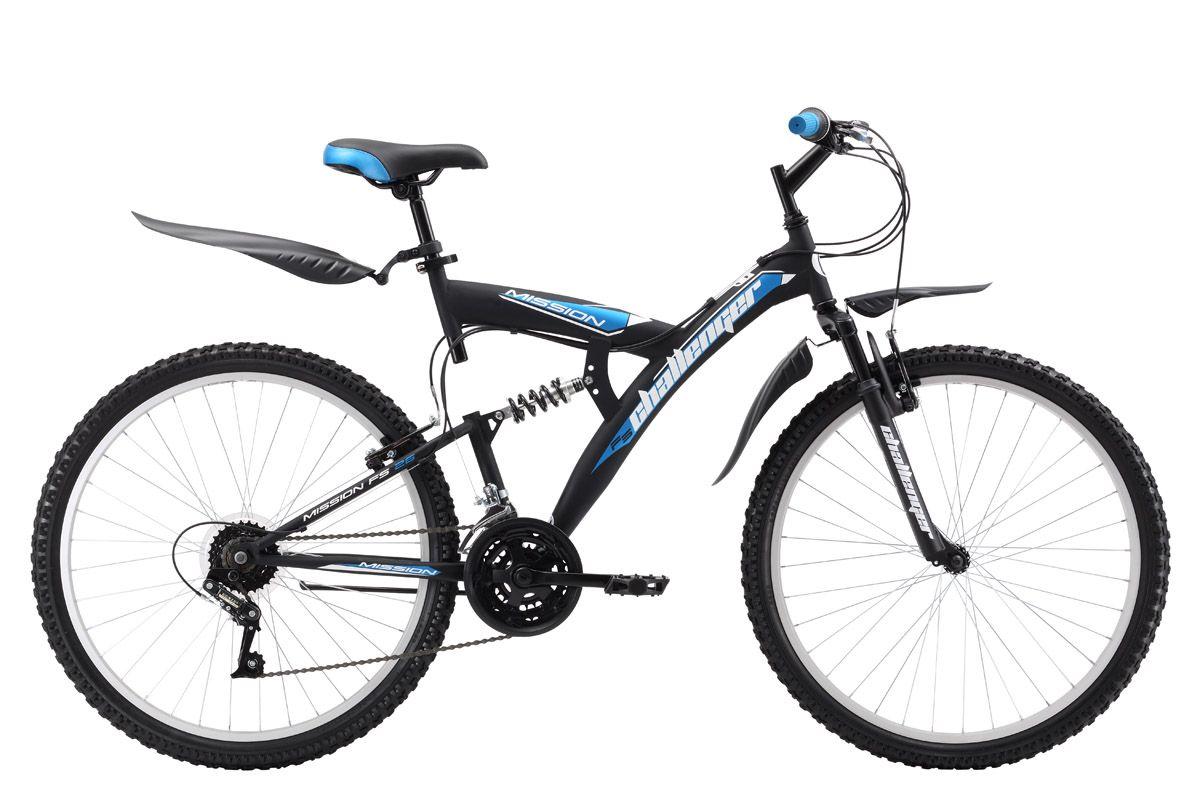 Велосипед Challenger Mission FS 26 (2017) черно-синий 20КОЛЕСА 26 (СТАНДАРТ)<br>Горный велосипед двухповес Challenger Mission FS 26 собран на стальной раме и оборудован надёжными ободными тормозами. Данная модель отлично подходит для прогулок на природе. ChallengerMission оборудован 18 скоростями и комплектующими Power, которые чётко переключают передачи во время велопрогулки. Колёса, диаметром 26 дюймов, имеют усиленные алюминиевые обода, которые хорошо выдерживают ударные нагрузки и устойчивы к деформации. Велосипед Challenger Mission FS 26 оборудован крыльями и подножкой<br><br>бренд: CHALLENGER<br>год: 2017<br>рама: Сталь (Hi-Ten)<br>вилка: Амортизационная (пружина)<br>блокировка амортизатора: Нет<br>диаметр колес: 26<br>тормоза: Ободные (V-brake)<br>уровень оборудования: Начальный<br>количество скоростей: 18<br>Цвет: черно-синий<br>Размер: 20