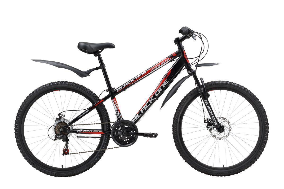 Велосипед Black One Hooligan Disc (2016) черно-красный 16КОЛЕСА 26 (СТАНДАРТ)<br>Стальная рама велосипеда Black One Hooligan Disc имеет усиленную конструкцию по сравнению с другими горными велосипедами Black One  более мощные перья задней вилки и крепление рулевого стакана. В остальном Hooligan Disc имеет комплектацию аналогичную горным велосипедам с дисковым механическим тормозом. Дисковый тормоз сохраняет свою эффективность в плохую погоду, на грязных дорогах. 18-ти скоростная трансмиссия обеспечивает выбор удобной передачи с помощью переключателей Shimano. Крепление колёс с помощью эксцентриков трудно переоценить при погрузке горного велосипеда в автомобиль. Так же с помощью эксцентрика зажимается подседельный штырь, облегчая регулировку седла по высоте. Велосипед Black One Hooligan Disc укомплектован быстросъёмными крыльями и подножкой.<br><br>бренд: BLACK ONE<br>год: 2016<br>рама: Сталь (Hi-Ten)<br>вилка: Амортизационная (пружина)<br>блокировка амортизатора: Нет<br>диаметр колес: 26<br>тормоза: Дисковые механические<br>уровень оборудования: Начальный<br>количество скоростей: 18<br>Цвет: черно-красный<br>Размер: 16