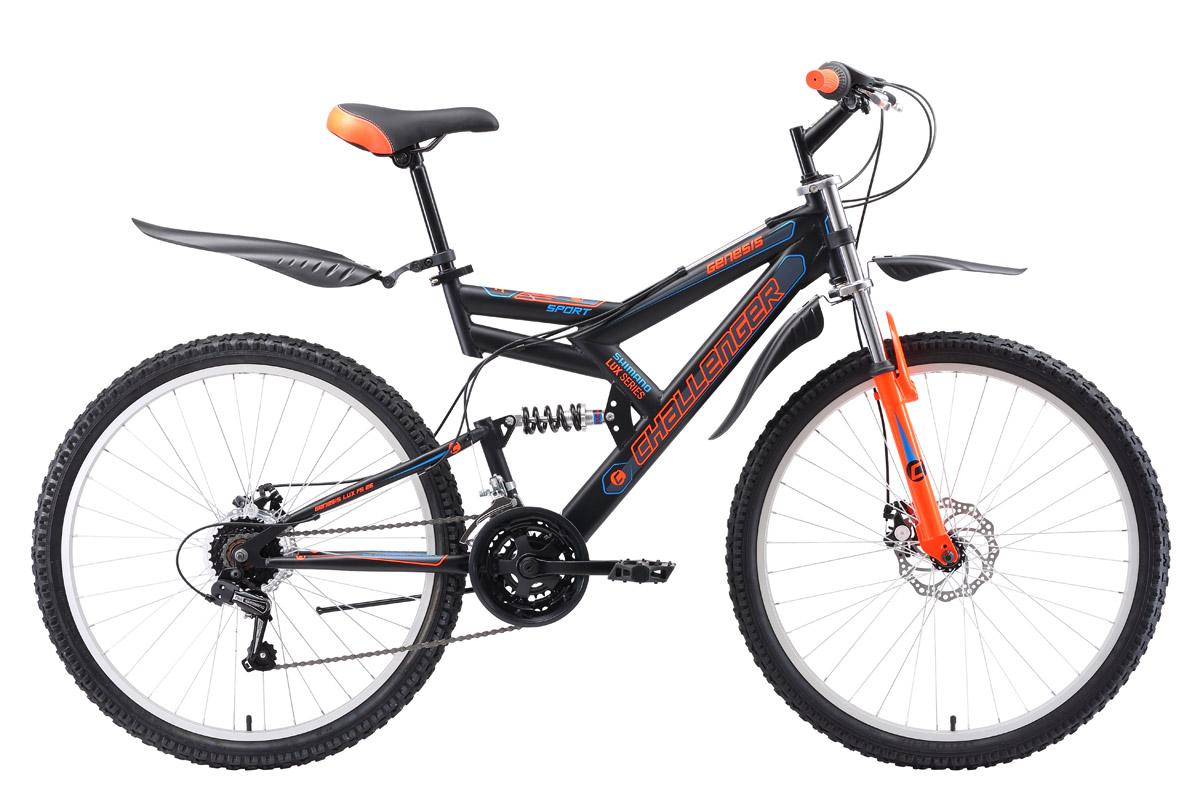 Велосипед Challenger Genesis Lux FS 26 D (2018) чёрный/оранжевый/голубой 16КОЛЕСА 26 (СТАНДАРТ)<br><br><br>бренд: CHALLENGER<br>год: 2018<br>рама: Сталь (Hi-Ten)<br>вилка: Амортизационная (пружина)<br>блокировка амортизатора: Нет<br>диаметр колес: 26<br>тормоза: Дисковые механические<br>уровень оборудования: Начальный<br>количество скоростей: 18<br>Цвет: чёрный/оранжевый/голубой<br>Размер: 16