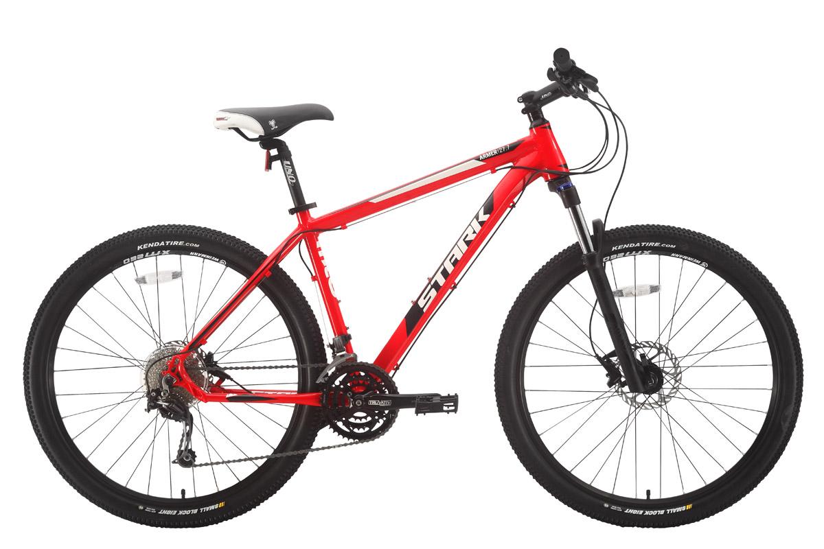 Велосипед Stark Armer 27.7 HD (2018) красный/чёрный/белый 18КОЛЕСА 27.5 (НОВЫЙ СТАНДАРТ)<br>Горный велосипед Stark Armer 27.7 HD #40;2018#41; лёгкий и выносливый велосипед для любительских гонок кросс-кантри. Рама, изготовленная с применением технологии двойного баттинга, коническая рулевая колонка и колёса диаметром 27 с половиной дюймов - важные характеристики данной модели. 27 передач позволяют велосипедисту подбирать оптимальную передачу на самых не простых трассах. Передняя амортизационная вилка Rock Shox имеет ход 100мм, оборудована предварительной настройкой жёсткости амортизатора и блокировкой хода. Колёса оборудованы двойными ободами WEINMANN, которые сообщают велосипеду хороший накат. Надёжный контакт с дорожным покрытием обеспечивают покрышки Kenda, шириной 2,1 дюйма. Для управления передачами, на руле установлены курковые переключатели SHIMANO ALIVIO. Задний переключатель относится к более дорогой группе оборудования SHIMANO DEORE. Гидравлические дисковые тормоза SRAM отличаются отзывчивостью и эффективны на любой дороге.<br><br>бренд: STARK<br>год: 2018<br>рама: Алюминий (Alloy)<br>вилка: Амортизационная (пружина)<br>блокировка амортизатора: Да<br>диаметр колес: 27,5 (650B)<br>тормоза: Дисковые гидравлические<br>уровень оборудования: Профессиональный<br>количество скоростей: 27<br>Цвет: красный/чёрный/белый<br>Размер: 18