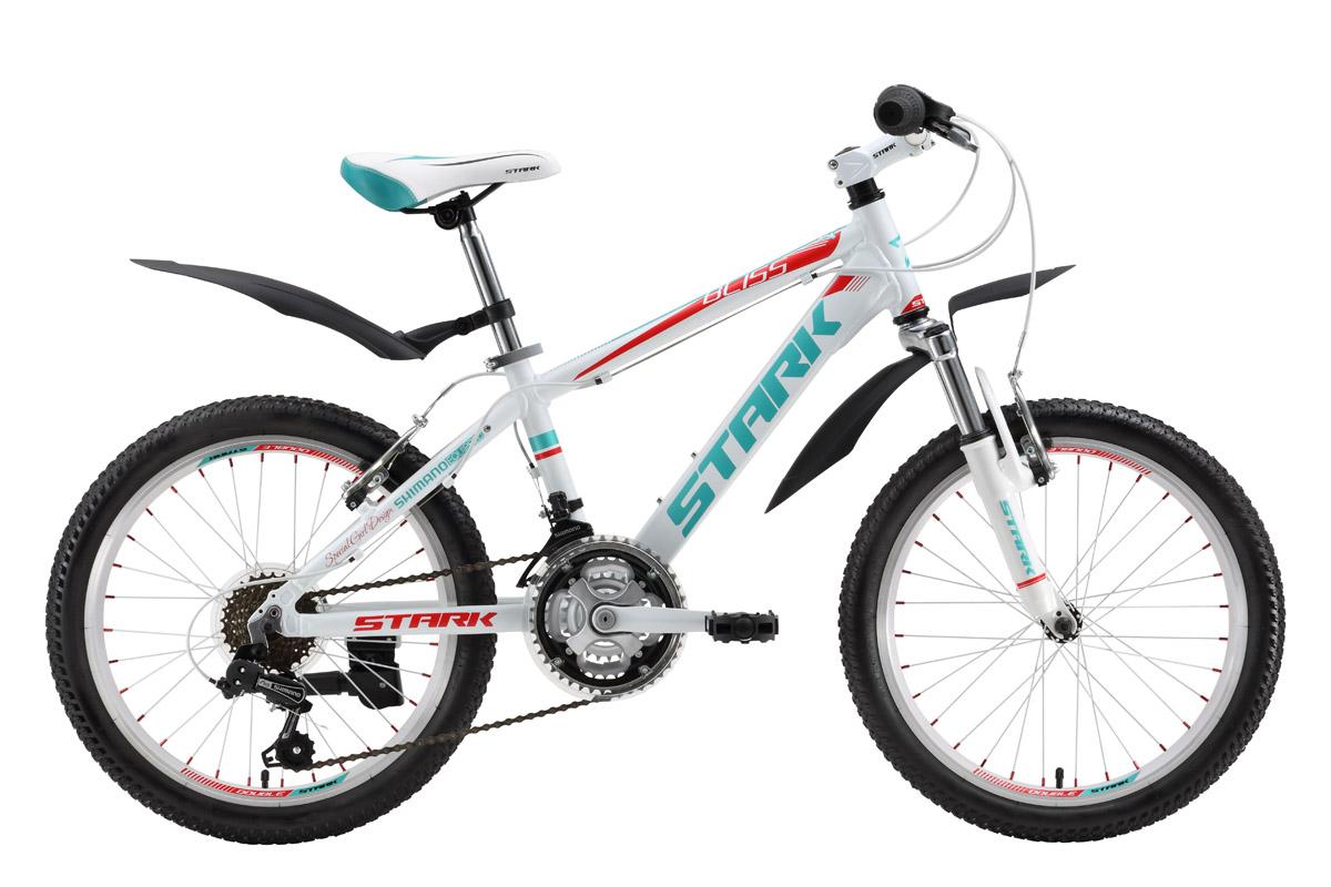 Велосипед Stark Bliss Girl (2016) розово-белый one sizeОТ 6 ДО 9 ЛЕТ (20 ДЮЙМОВ)<br>С покупки детского велосипеда Stark Bliss Girl 20 может начаться серьёзное увлечение вашего ребёнка велосипедными прогулками. Велосипед, созданный для девочек ростом 115-127 см, имеет уже все признаки взрослого велосипеда. Совершая приятные велосипедные прогулки, ребёнок научится пользоваться ободными тормозами и переключать передачи, которых на этом детском велосипеде шесть. Благодаря алюминиевой раме и 20-ти дюймовым колёсам, накат велосипеда будет лёгким. Мягкое седло, крылья и подножка обеспечат дополнительный комфорт. Дизайн велосипеда, разработанный для девочек, безусловно, порадует вашего ребёнка.<br><br>бренд: STARK<br>год: 2016<br>рама: Алюминий (Alloy)<br>вилка: Амортизационная (пружина)<br>блокировка амортизатора: None<br>диаметр колес: 20<br>тормоза: Ободные (V-brake)<br>уровень оборудования: Начальный<br>количество скоростей: 21<br>Цвет: розово-белый<br>Размер: one size