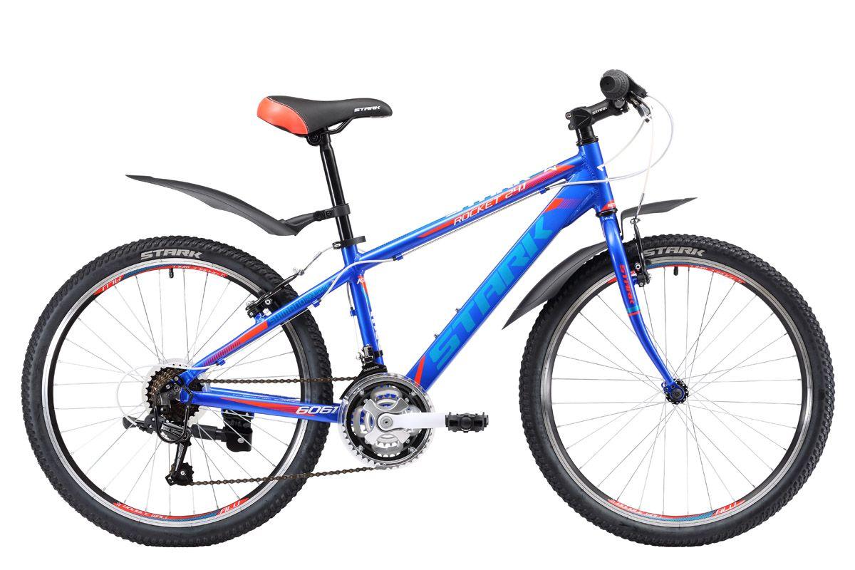 Велосипед Stark Rocket 24.1 RV (2017) черно-оранжевый one sizeОТ 9 ДО 13 ЛЕТ (24-26 ДЮЙМОВ)<br>Stark Rocket 24.1 RV - недорогой подростковый велосипед, который идеально подойдет юношам от 8 до 12 лет и ростом от 127 до 155 см. Главное отличие этого велосипеда от похожей модели Stark Rocket 24.1 V - это жёсткая передняя вилка, которая в сочетании с алюминиевой рамой, делают данную модель легкой, прочной и маневренной. Приятным дополнением станут надёжные комплектующие фирмы SHIMANO. Stark Rocket 24.1 RV оборудован ободными тормозами и 21-скоростной трансмиссией, это поможет юному спортсмену получить навыки правильного переключения скоростей и эффективного торможения, которые пригодятся, в дальнейшем, при управлении взрослым велосипедом.<br><br>бренд: STARK<br>год: 2017<br>рама: Алюминий (Alloy)<br>вилка: Амортизационная (пружина)<br>блокировка амортизатора: Нет<br>диаметр колес: 24<br>тормоза: Ободные (V-brake)<br>уровень оборудования: Начальный<br>количество скоростей: 21<br>Цвет: черно-оранжевый<br>Размер: one size